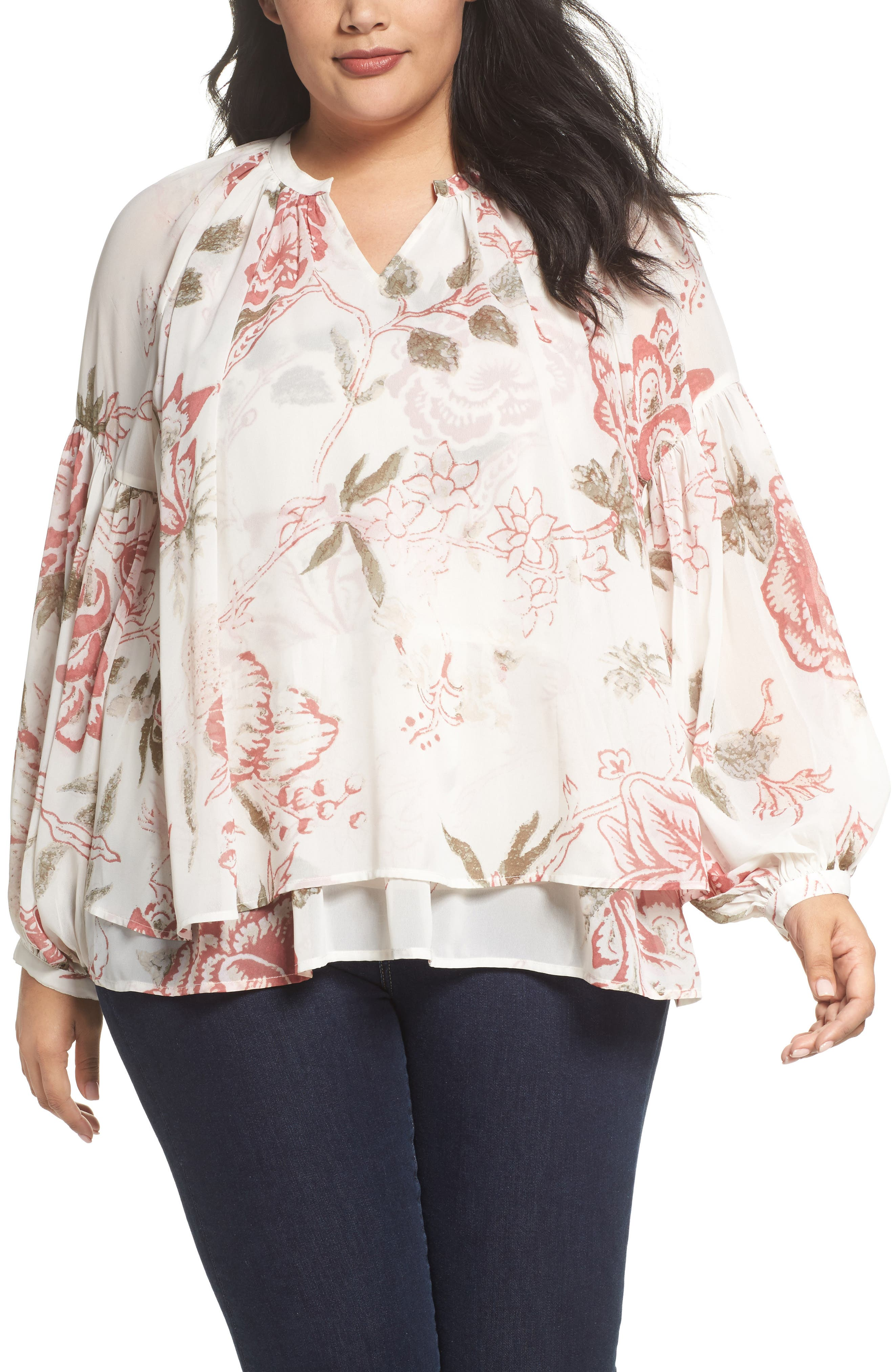 Alternate Image 1 Selected - Lucky Brand Jenna Print Peasant Top (Plus Size)