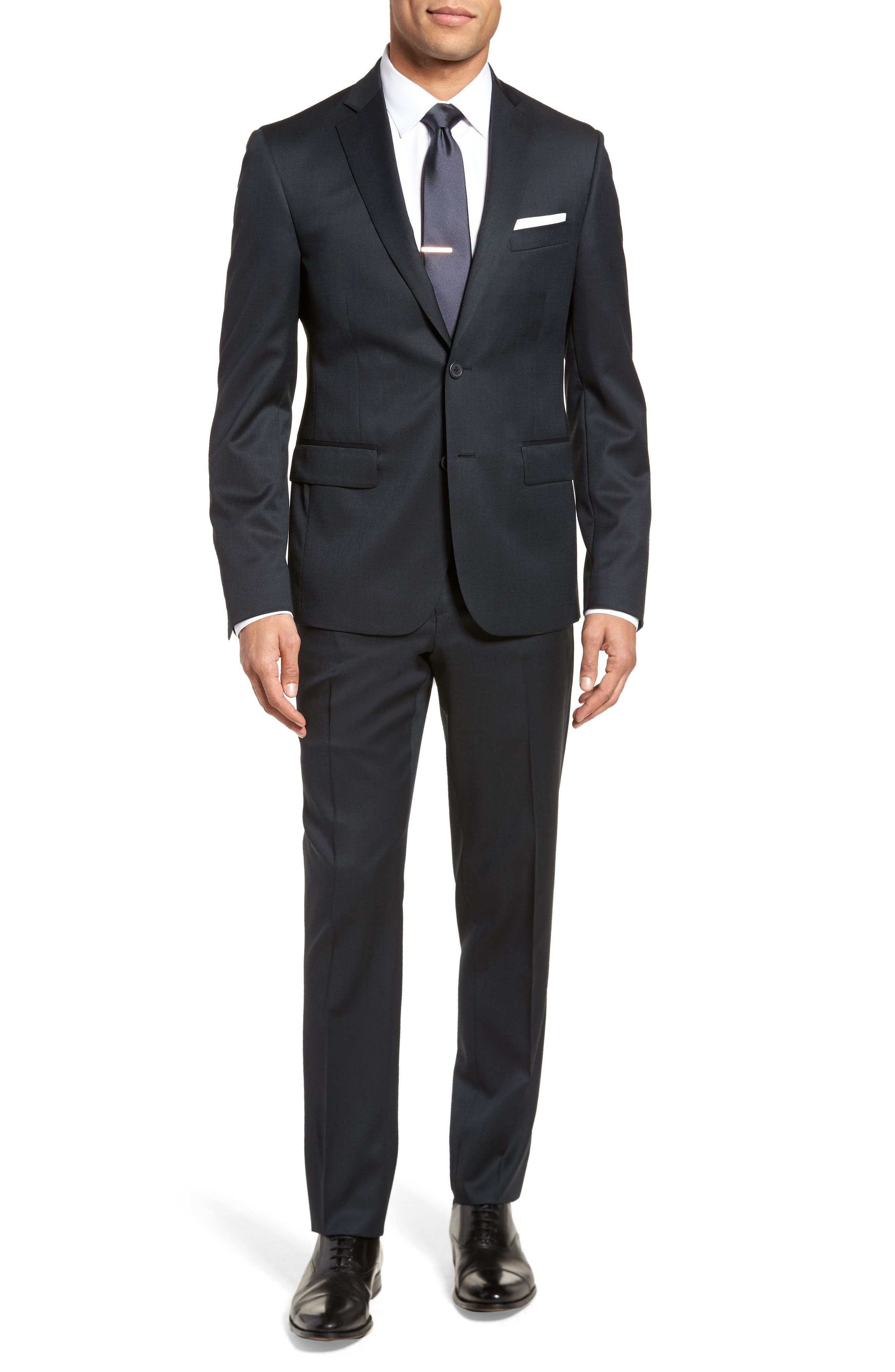 Extra Trim Fit Solid Wool Suit,                         Main,                         color, Navy