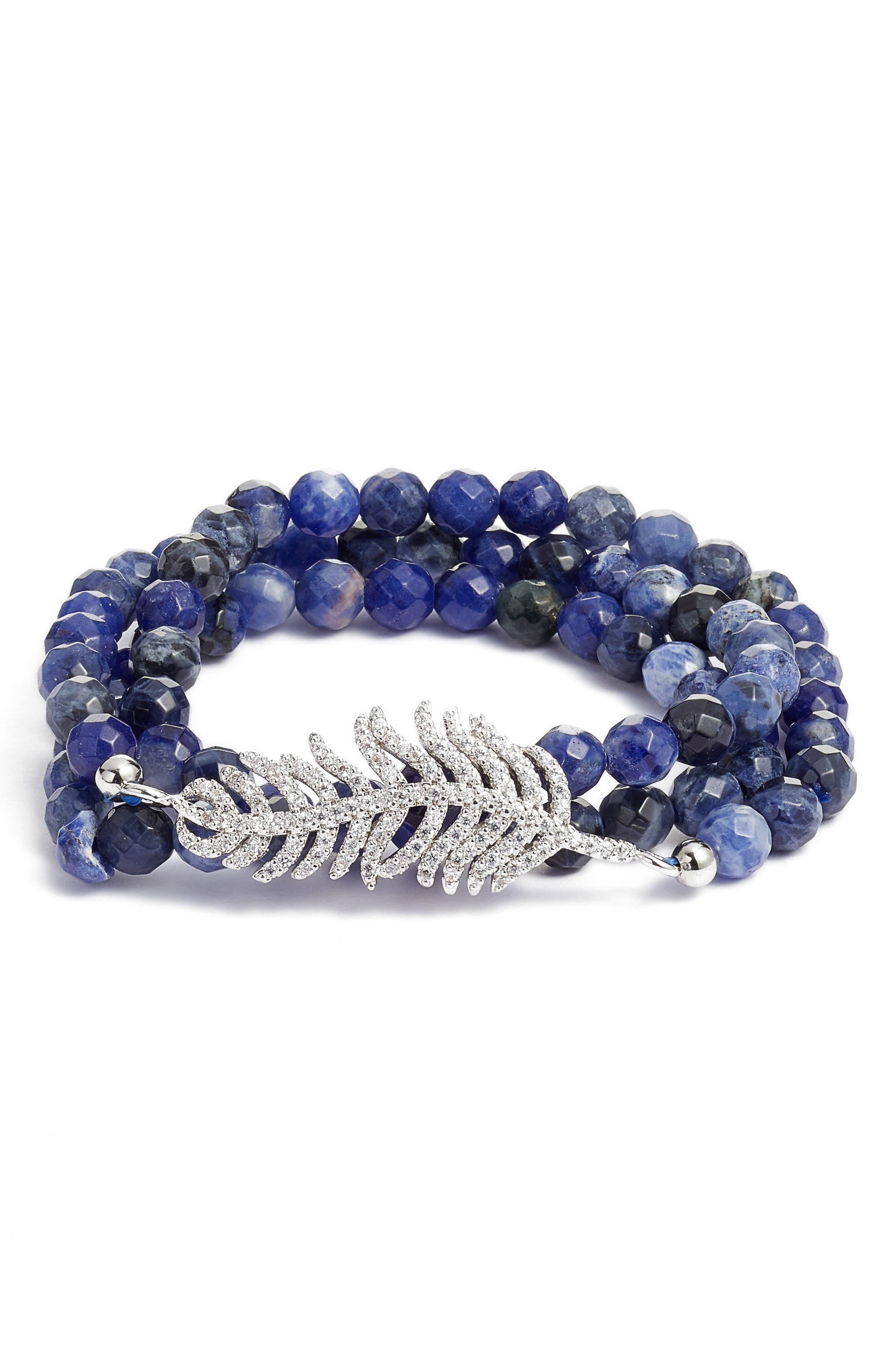 Art Deco Triple Wrap Stone & Crystal Stretch Bracelet,                         Main,                         color, Leaf/ Blue Lapis