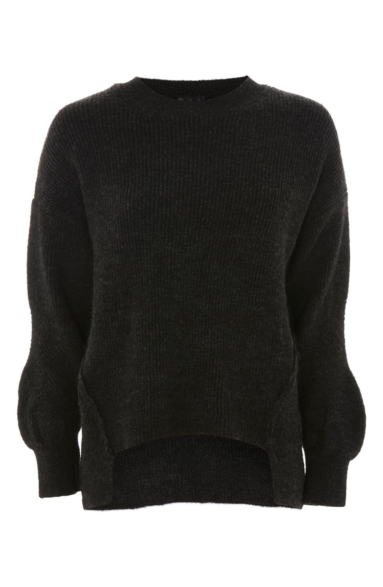 High/Low Ribbed Sweater,                             Alternate thumbnail 3, color,                             Charcoal