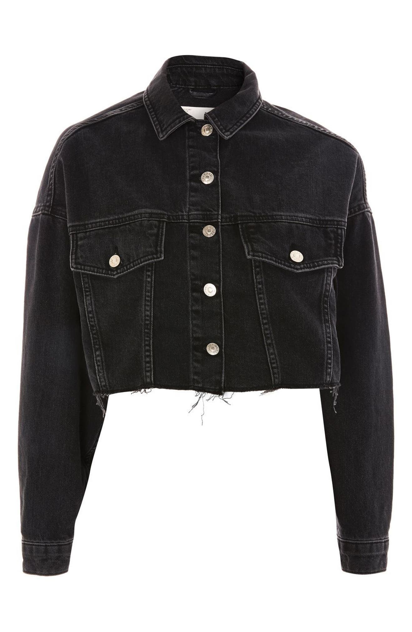 Raw Edge Crop Denim Jacket,                             Alternate thumbnail 5, color,                             Washed Black