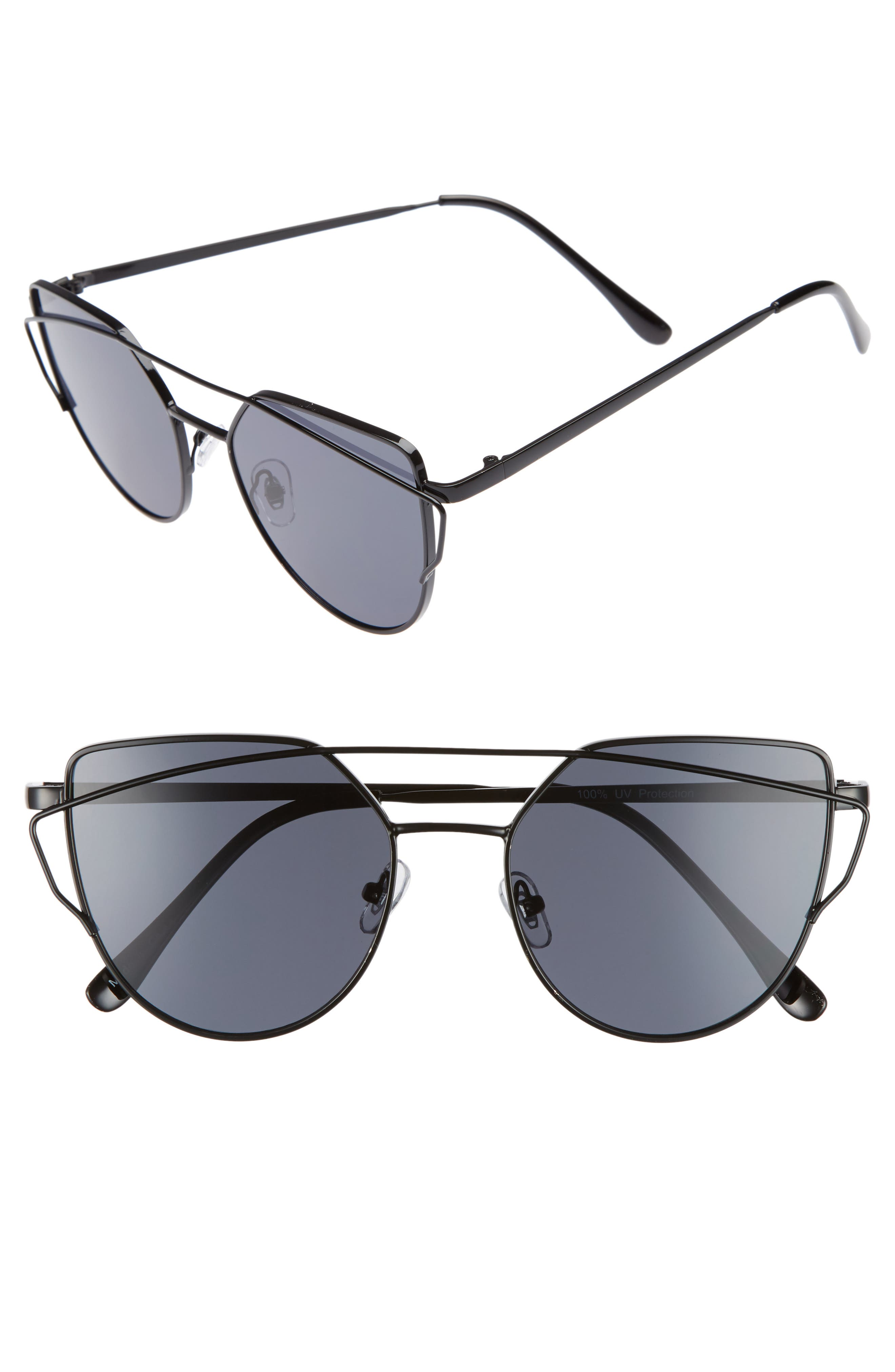 51mm Thin Brow Angular Aviator Sunglasses,                             Main thumbnail 1, color,                             Black/ Black