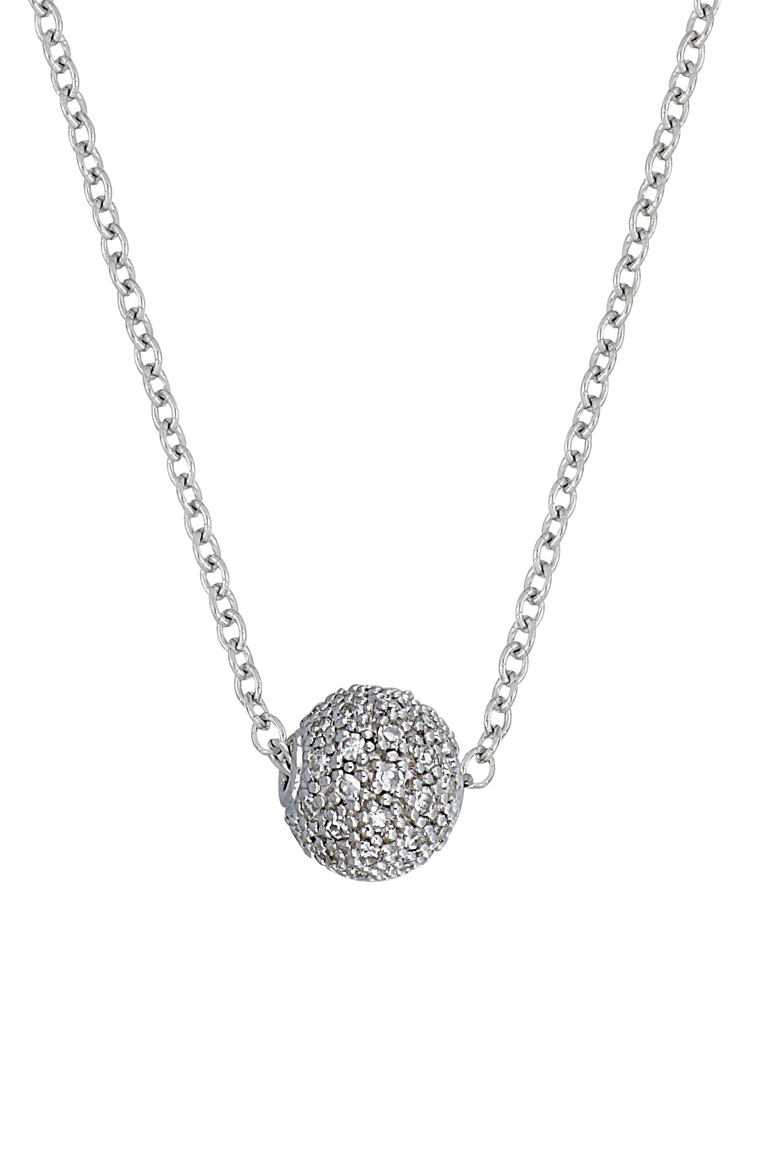 Carrière Diamond Ball Pendant Necklace,                             Main thumbnail 1, color,                             Silver/ Diamond
