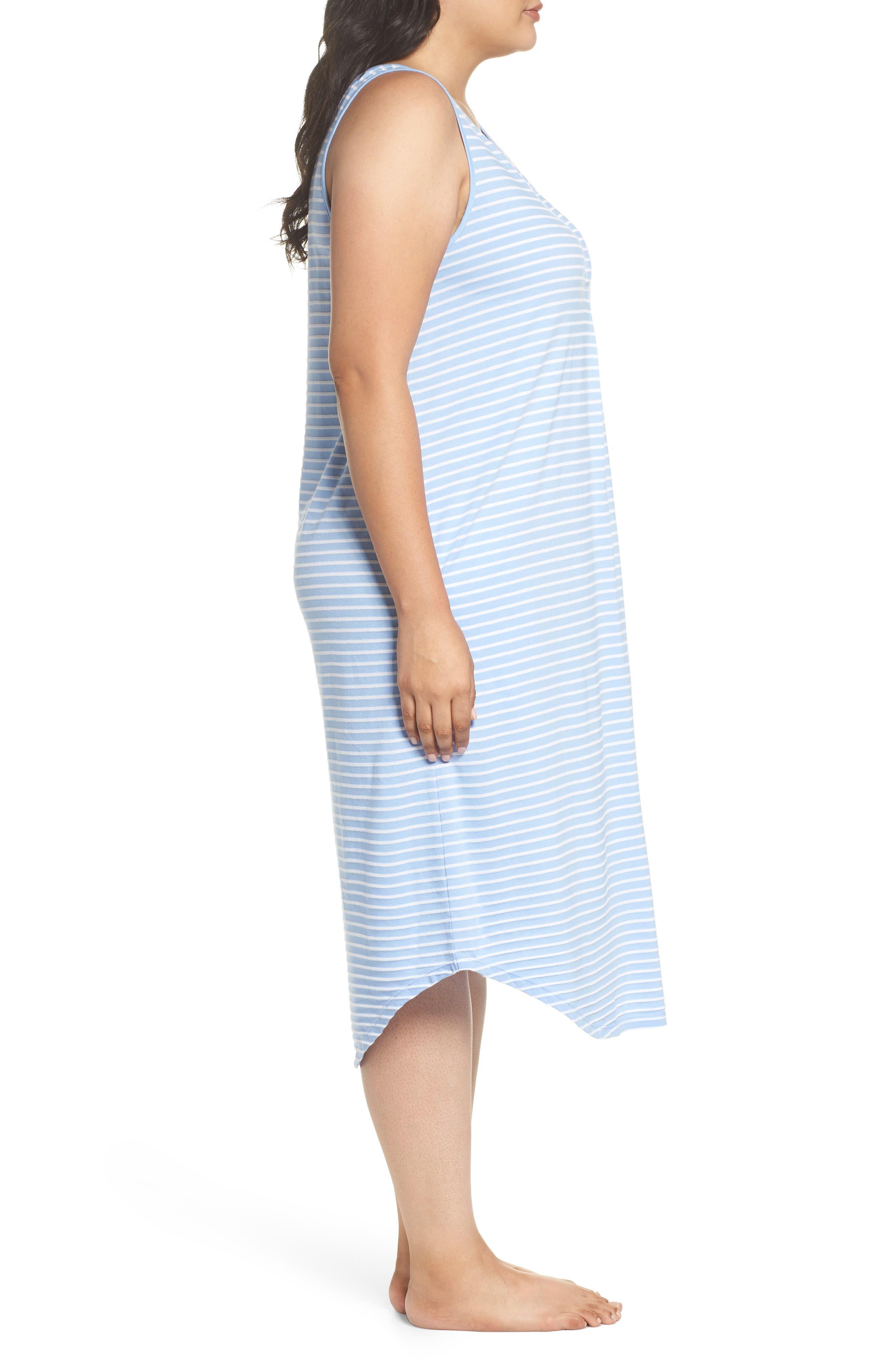 Piqué Cotton Ballet Gown,                             Alternate thumbnail 3, color,                             Blue Stripe