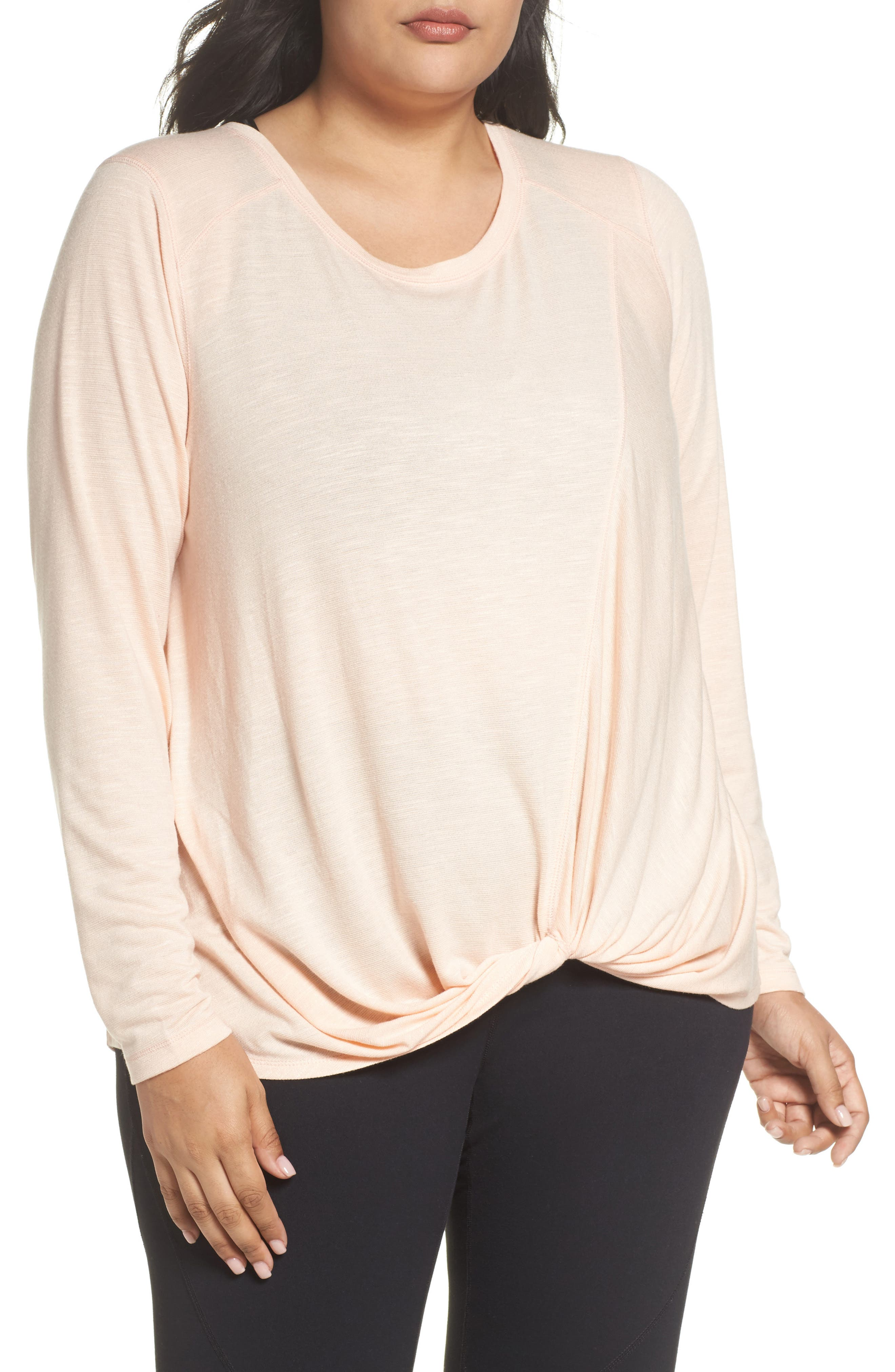 'Twisty Turn' Long Sleeve Tee,                         Main,                         color, Coral Pale