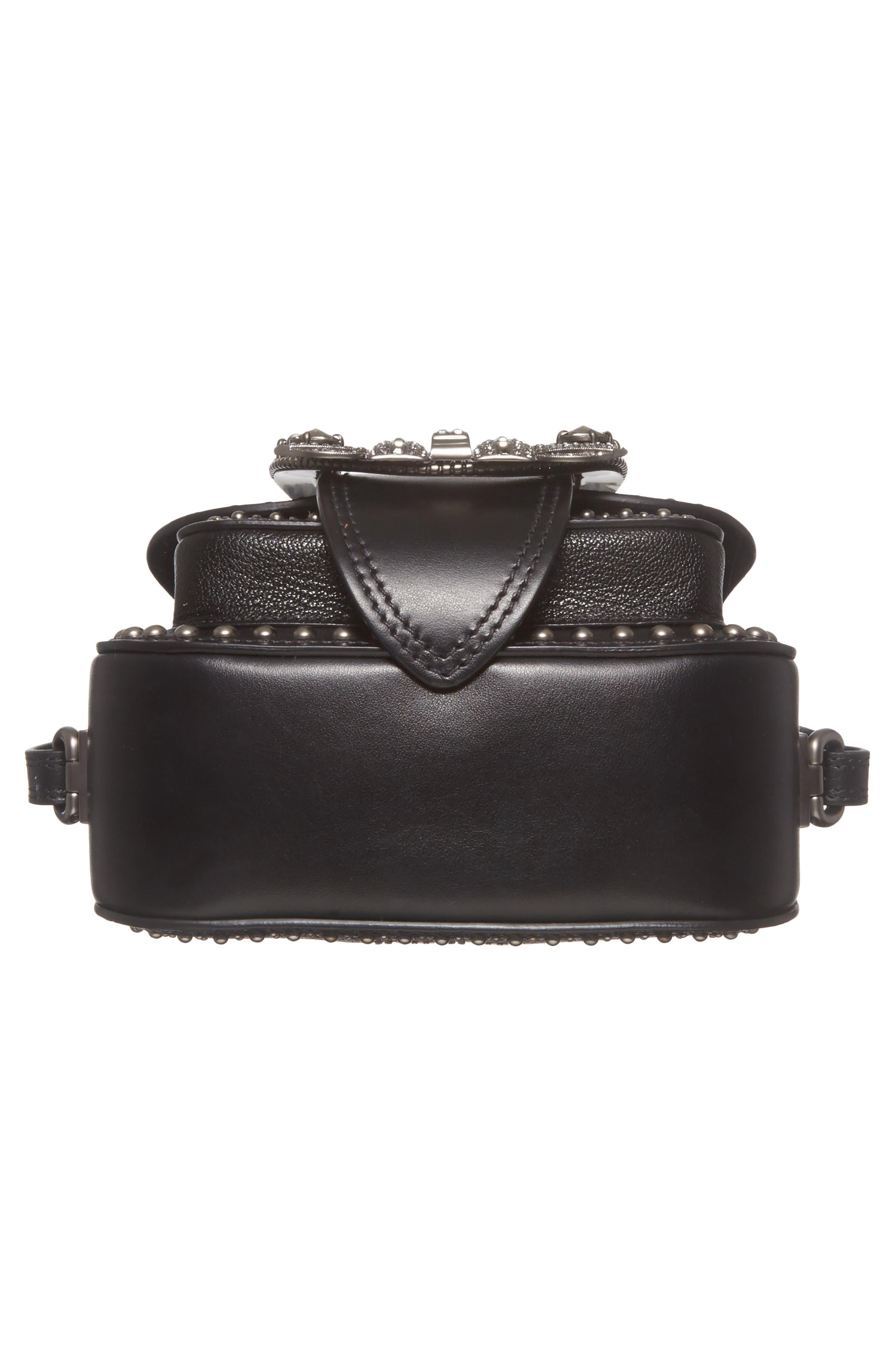 Dahlia Leather Shoulder Bag,                             Alternate thumbnail 6, color,                             Nero