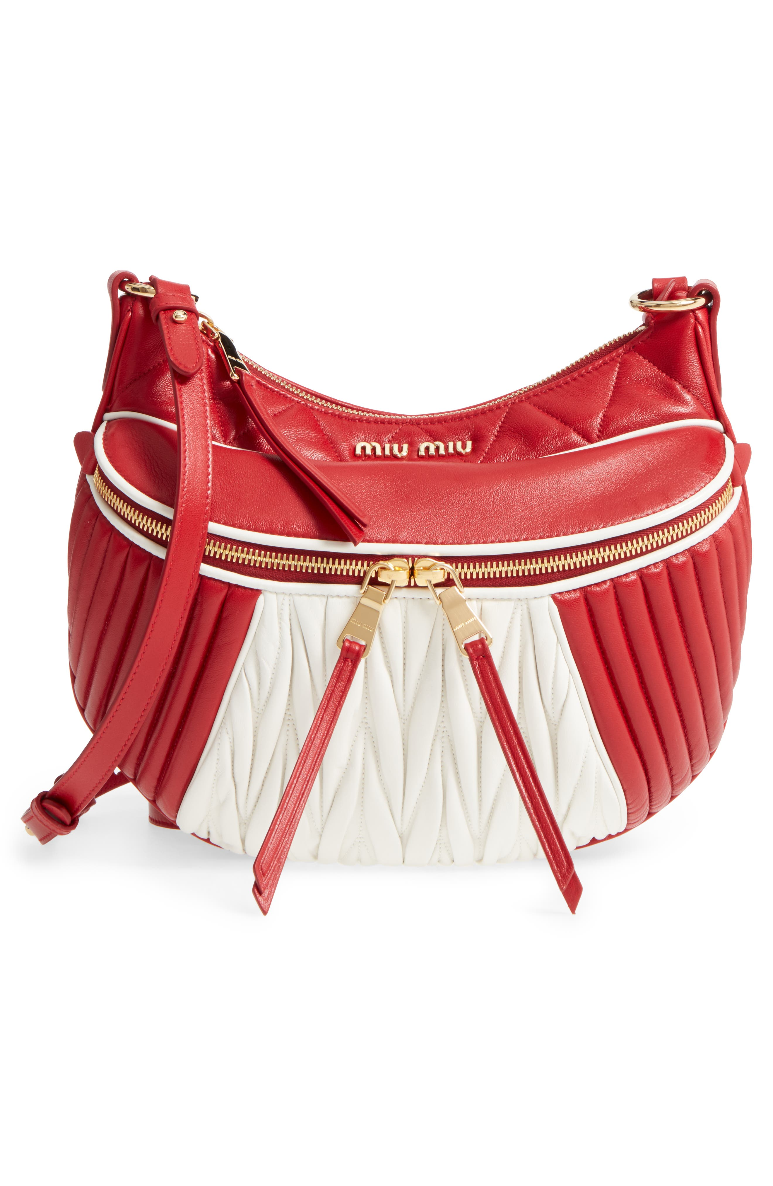 Small Rider Matelassé Leather Shoulder Bag,                             Alternate thumbnail 5, color,                             Fuoco/ Bianco