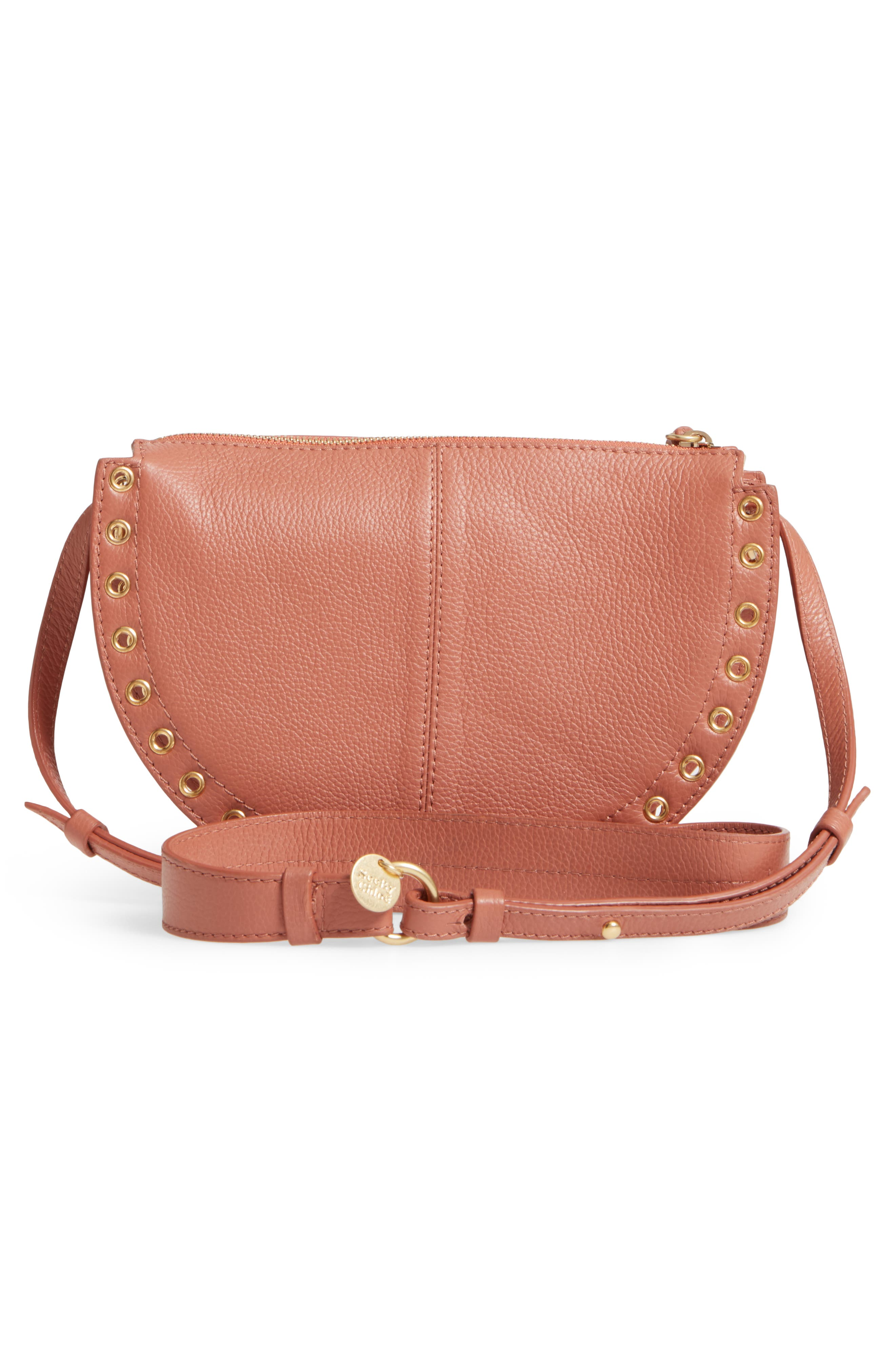Kriss Leather & Suede Grommet Shoulder Bag,                             Alternate thumbnail 3, color,                             Cheek