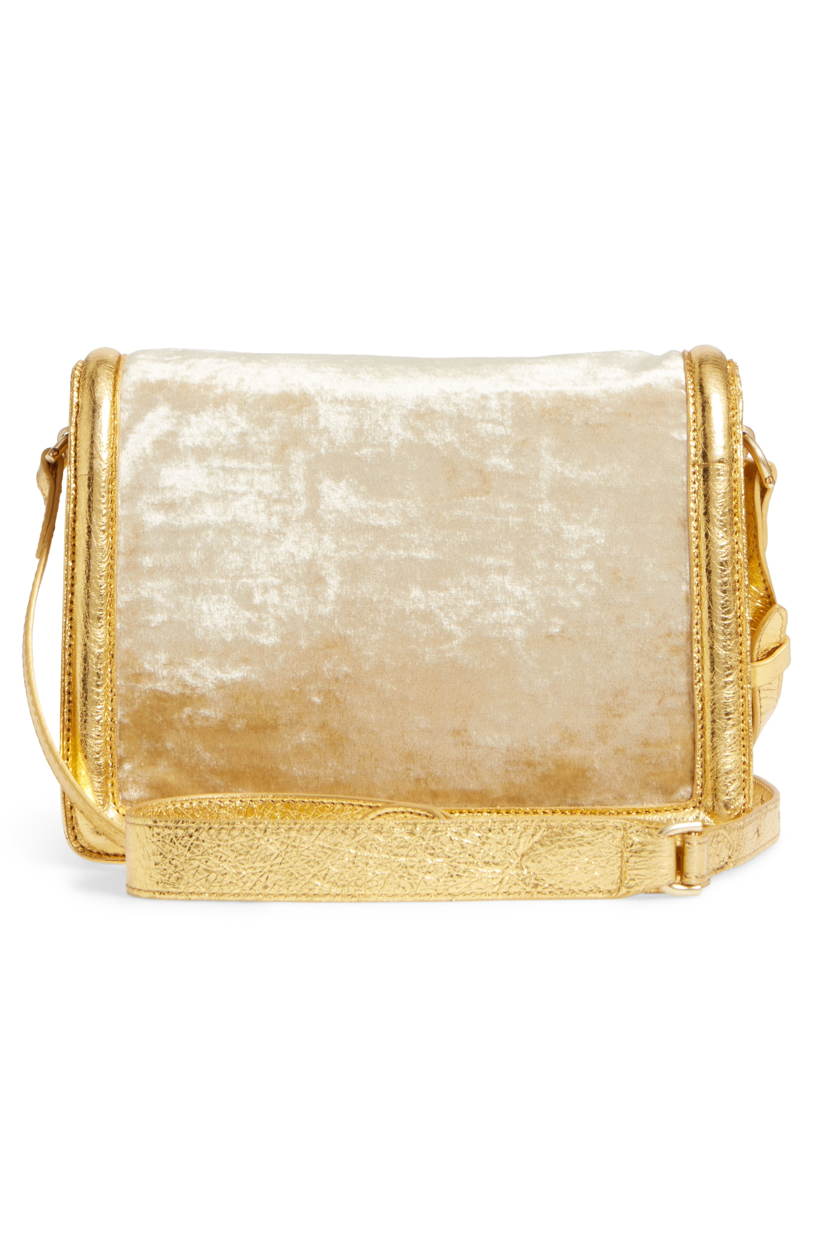 Alternate Image 3  - Dries Van Noten Velvet & Metallic Leather Crossbody Bag