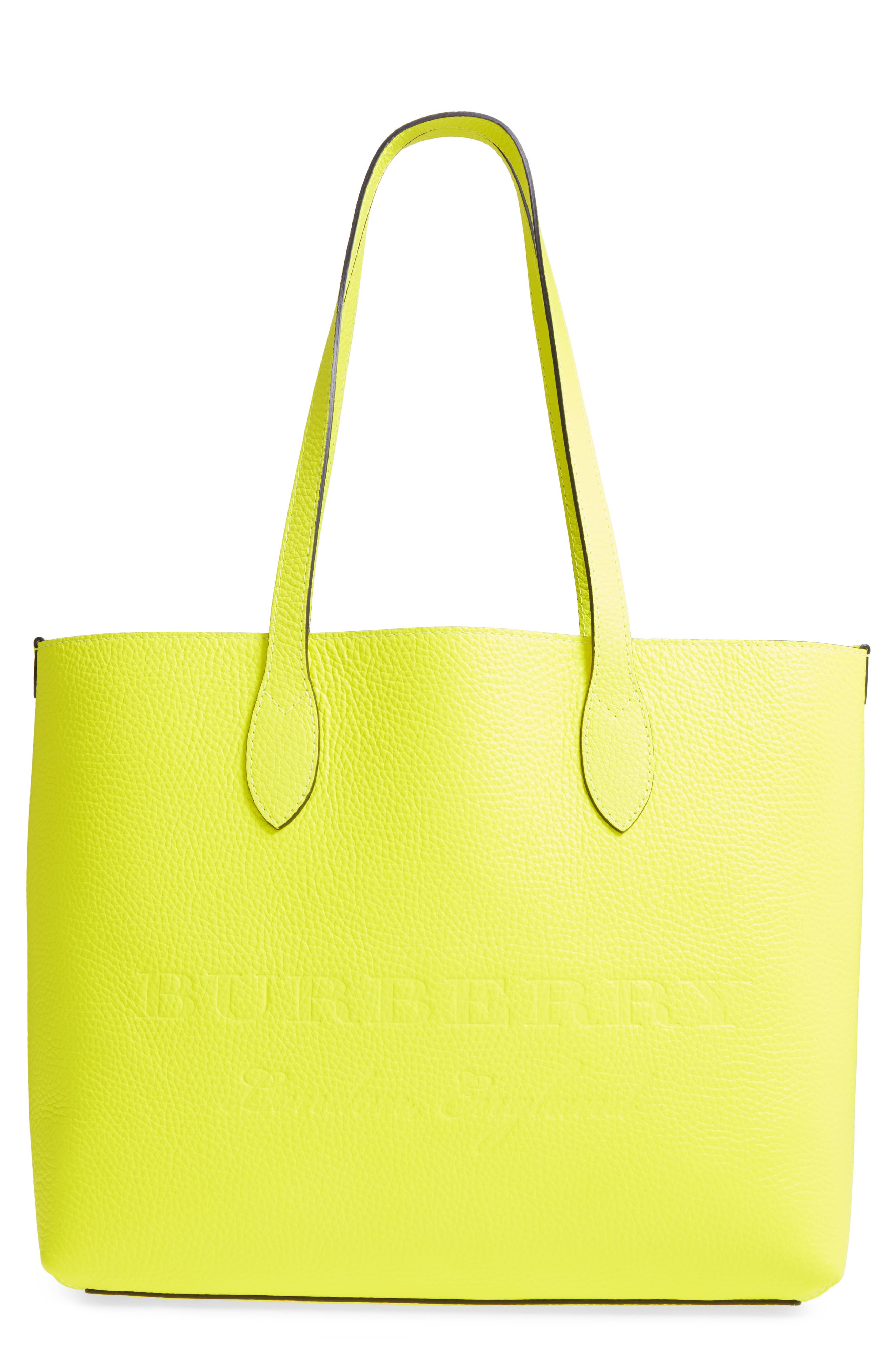 Large Remington Logo Leather Tote,                             Main thumbnail 1, color,                             Neon Yellow