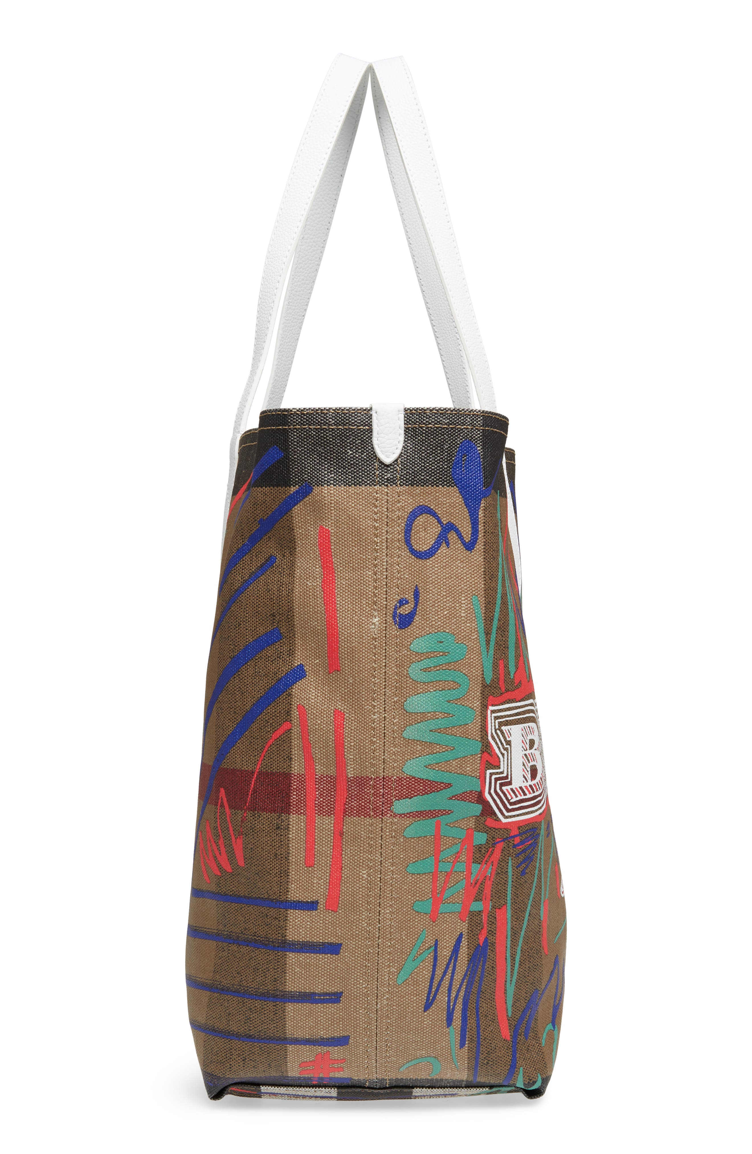 Doodletote/Check Reversible Canvas Tote,                             Alternate thumbnail 6, color,                             Classic White