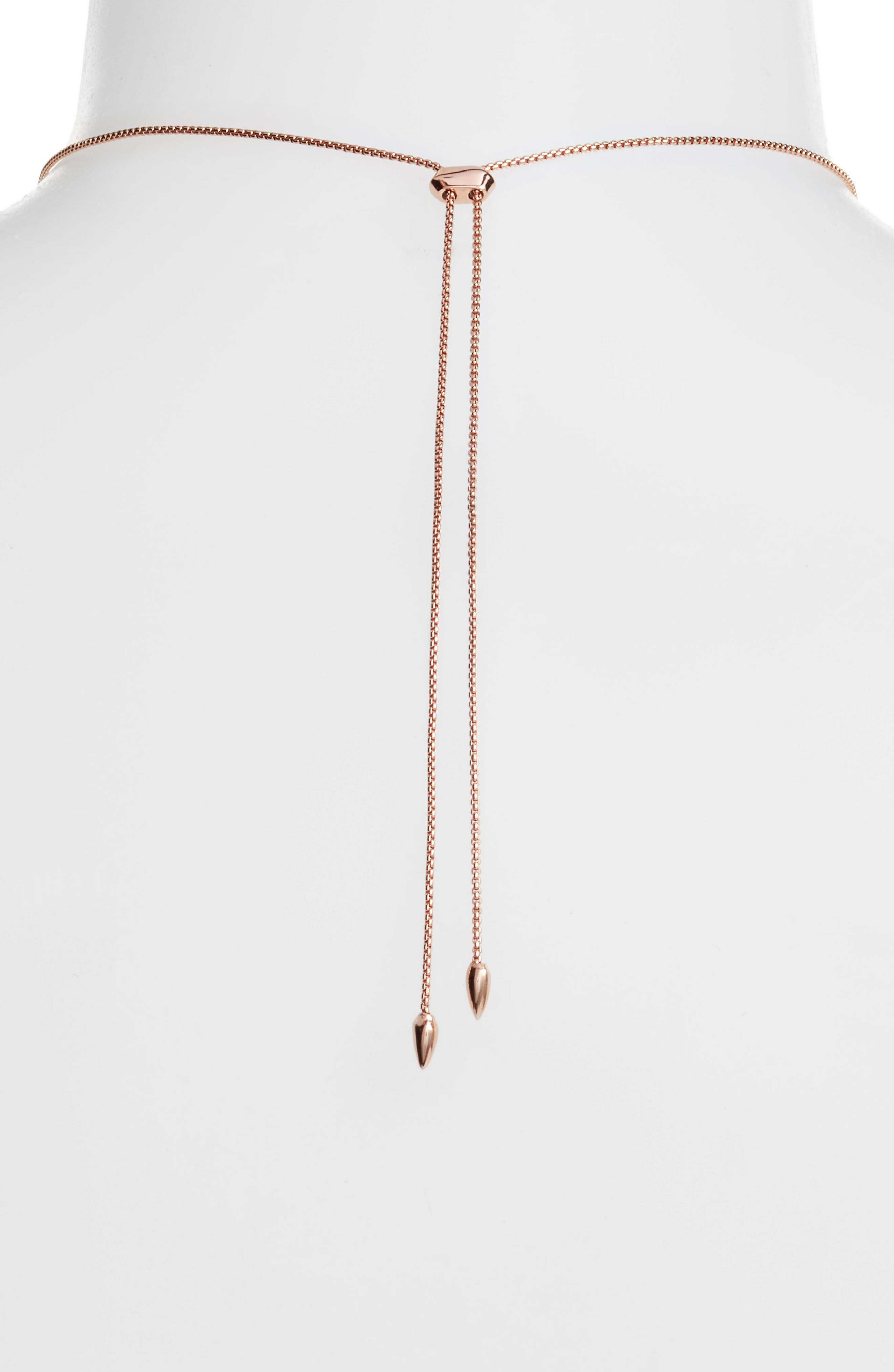 Kacey Pendant Necklace,                             Alternate thumbnail 4, color,                             Navy Dusted Glass/ Rose Gold