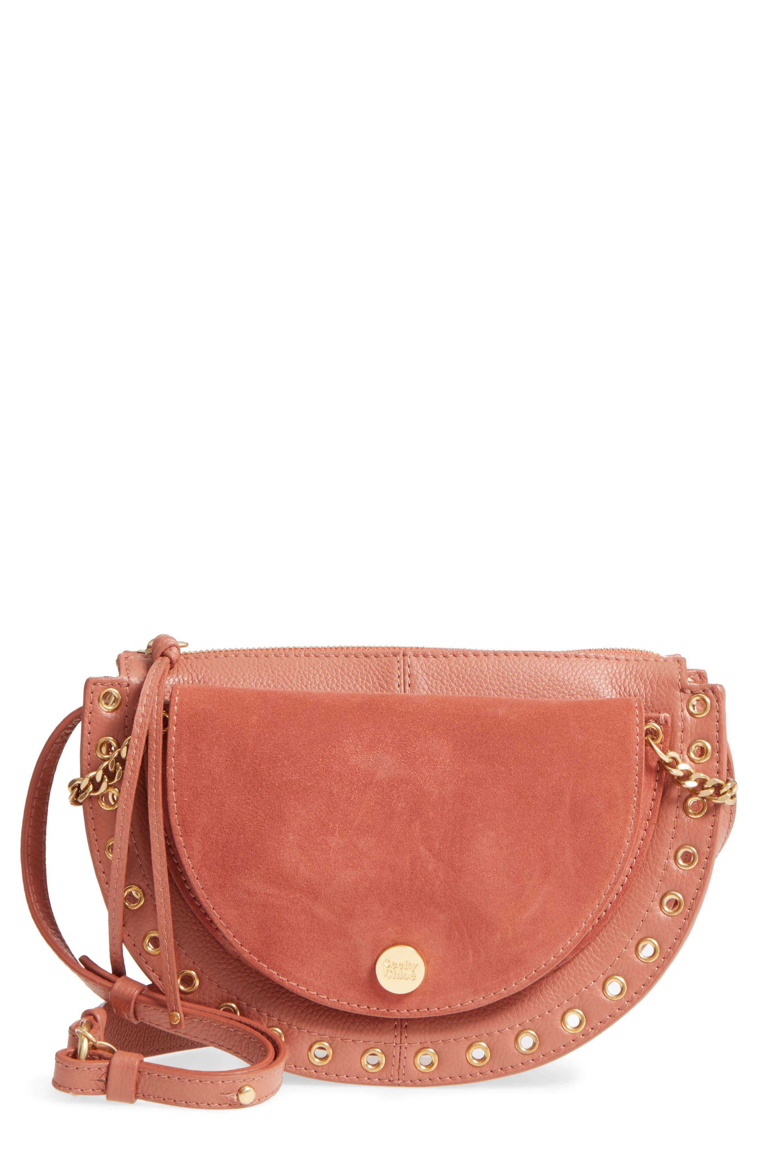 Kriss Leather & Suede Grommet Shoulder Bag,                             Main thumbnail 1, color,                             Cheek