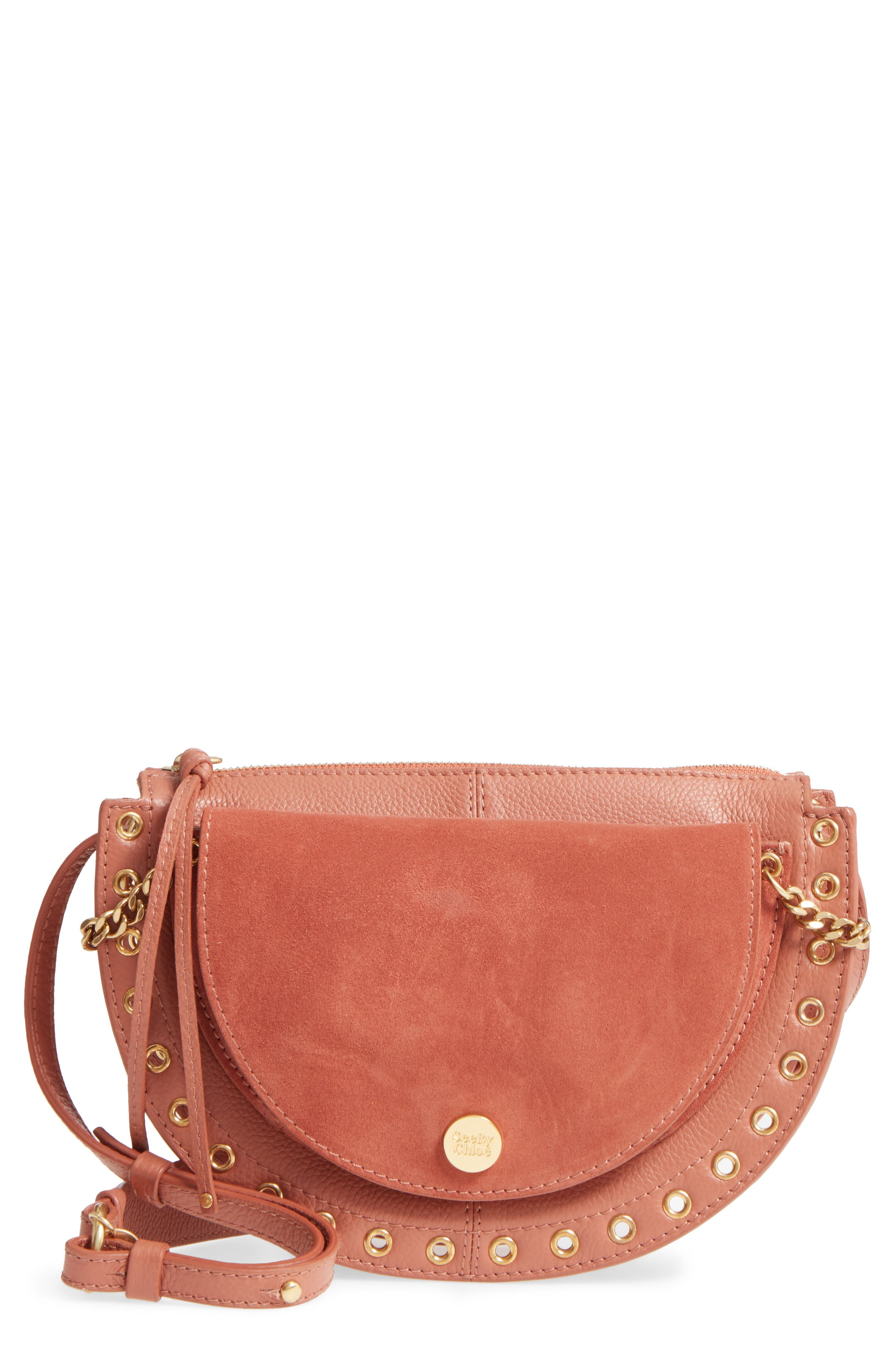 Kriss Leather & Suede Grommet Shoulder Bag,                         Main,                         color, Cheek