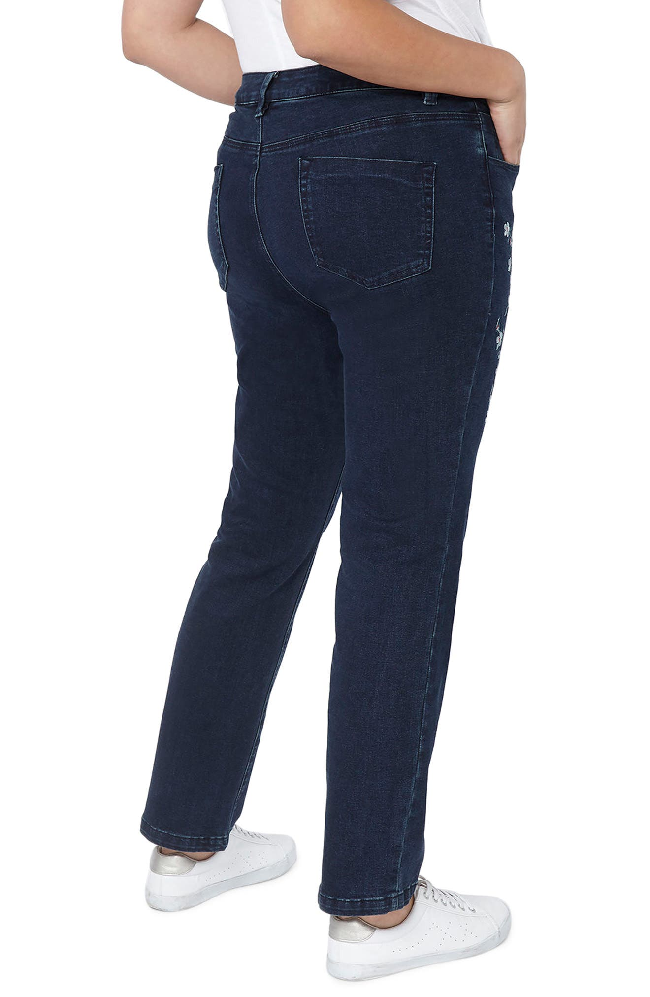 Alternate Image 2  - Evans Embroidered Straight Leg Jeans (Plus Size)