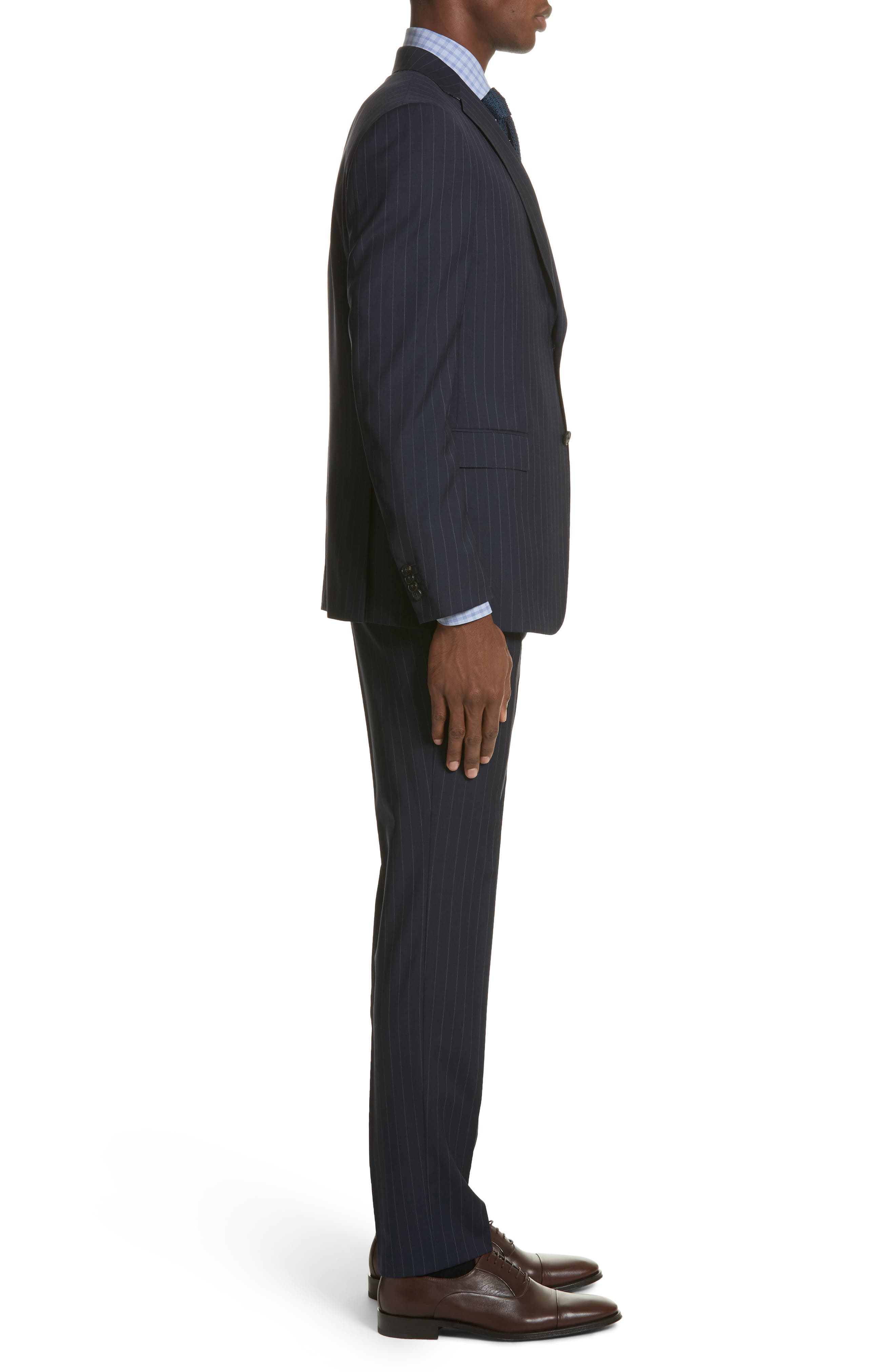 Classic Fit Stripe Wool Suit,                             Alternate thumbnail 3, color,                             Navy Stripe