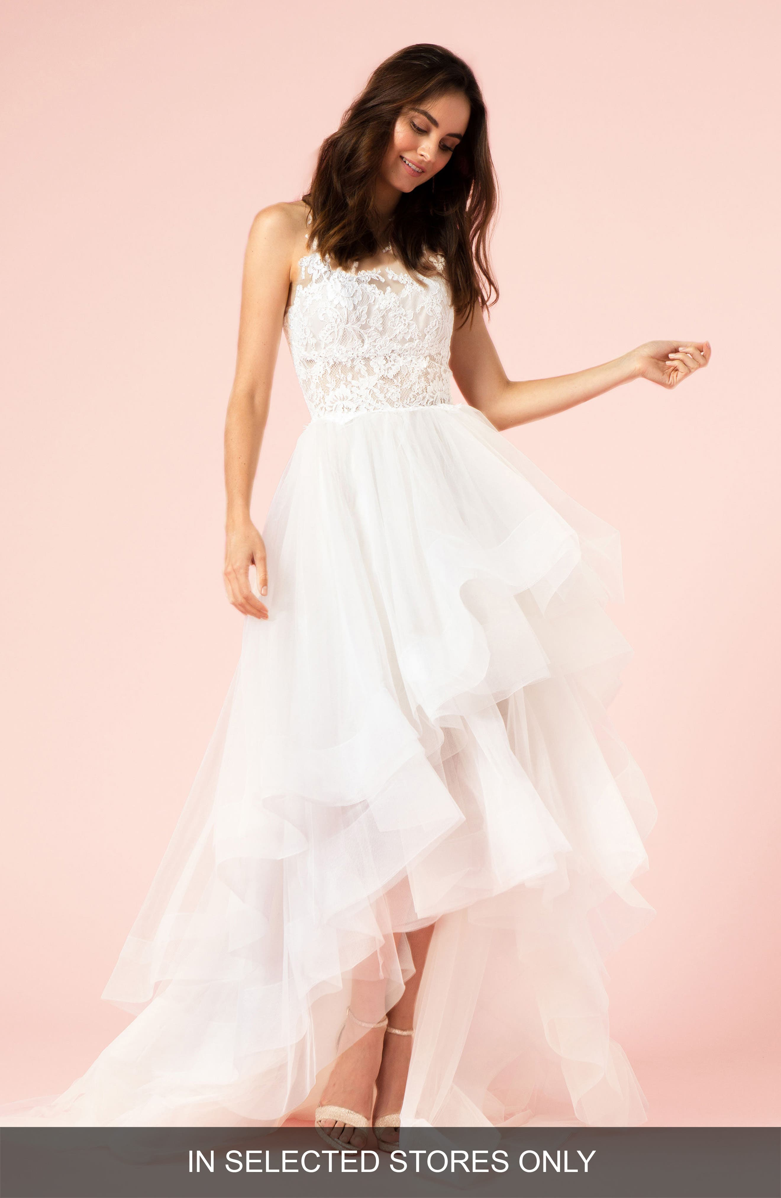 Lace & Organza High/Low Halter Gown,                             Main thumbnail 1, color,                             Silk White/ Latte