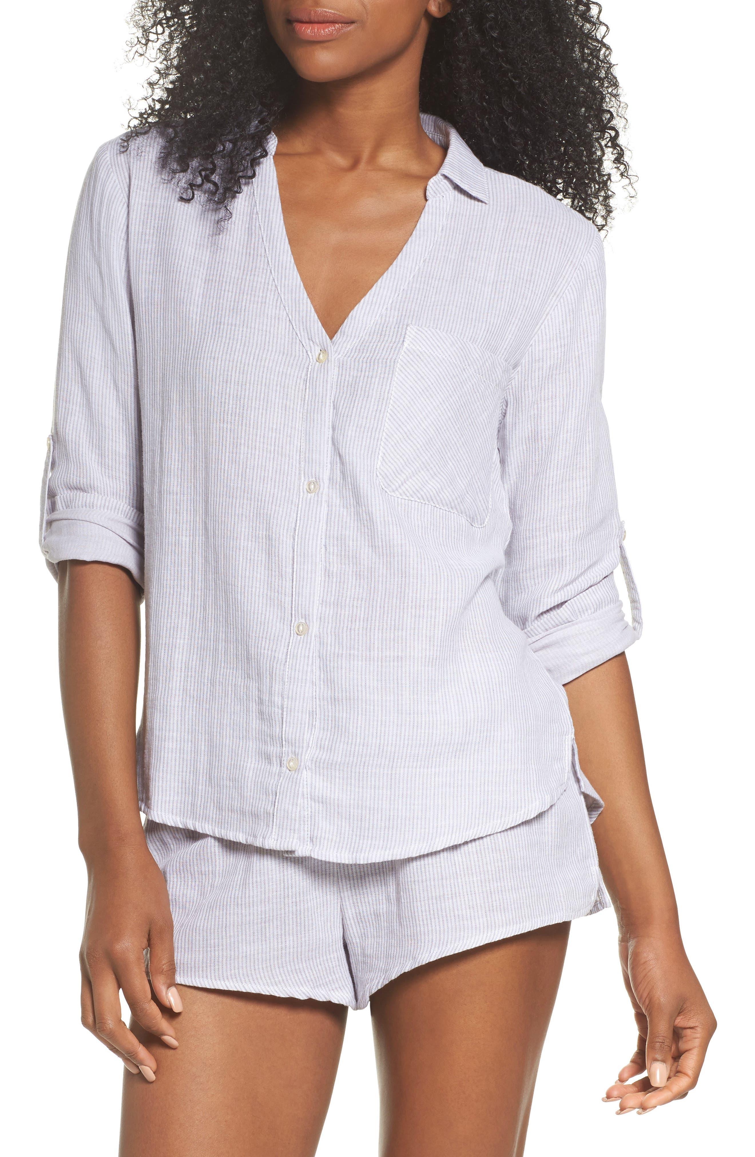 Stripe Pajama Shorts,                             Alternate thumbnail 5, color,                             Grey/ White