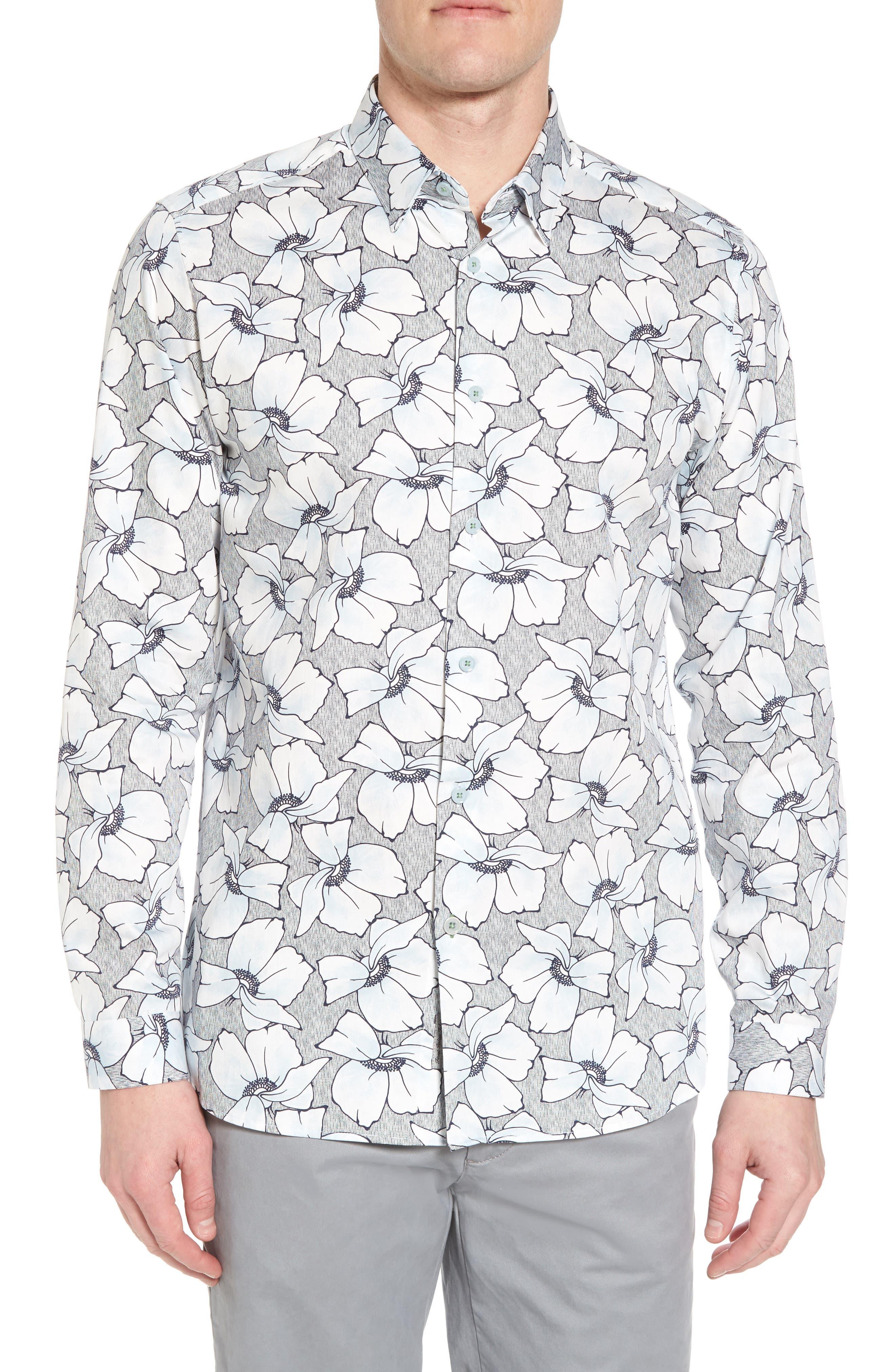 Ligflo Trim Fit Floral Print Sport Shirt,                         Main,                         color, Light Blue