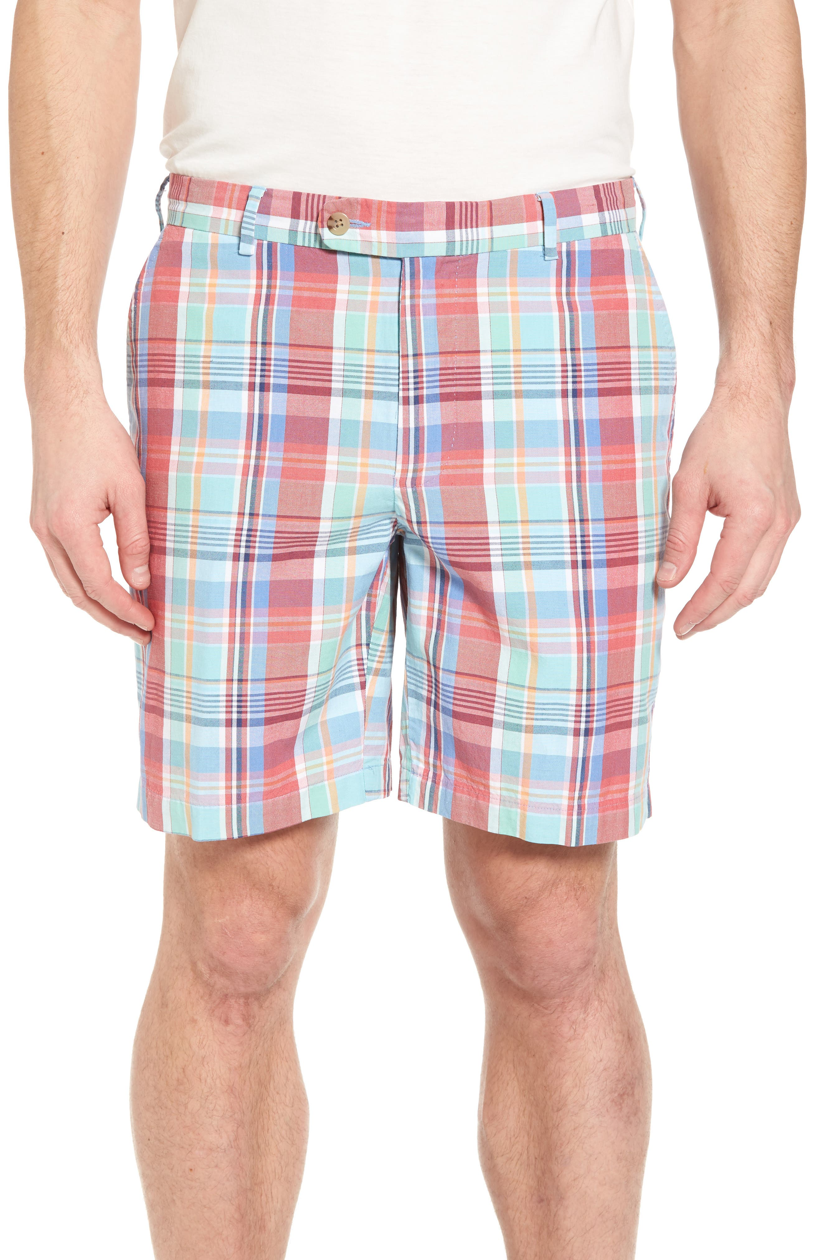 Seaside Madras Plaid Shorts,                         Main,                         color, Cape Red