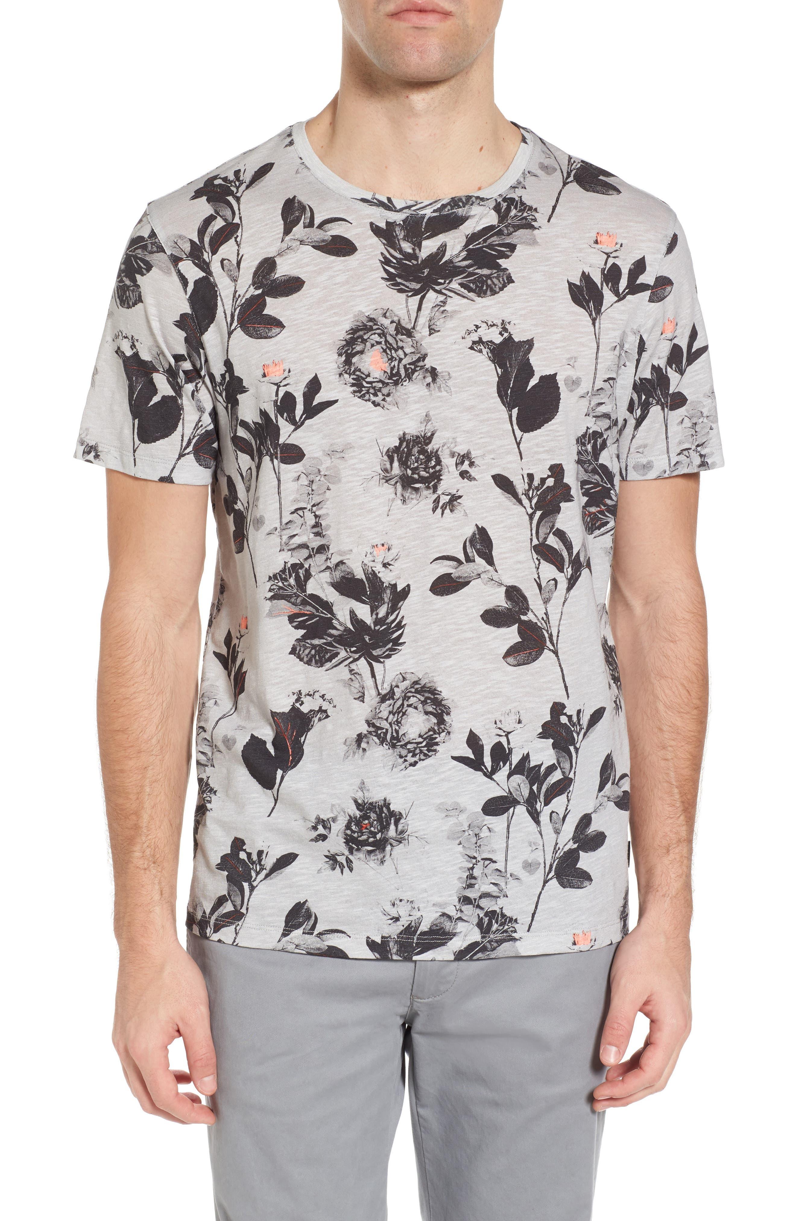 Doberma Trim Fit Floral Print T-Shirt,                         Main,                         color, Grey