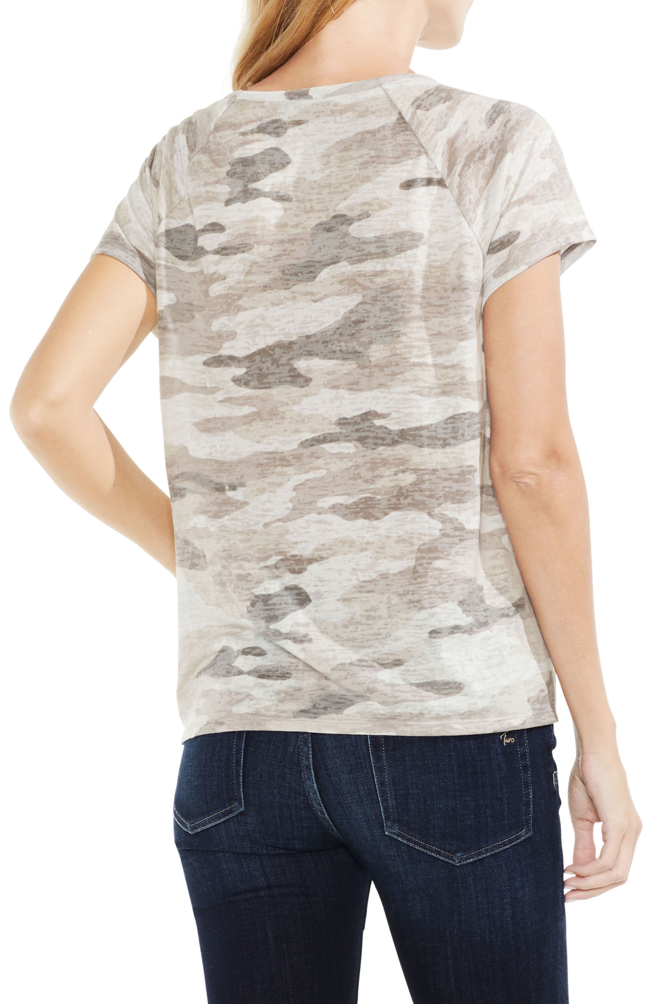 Alternate Image 2  - Vince Camuto Avenue Camo Lace-Up Top
