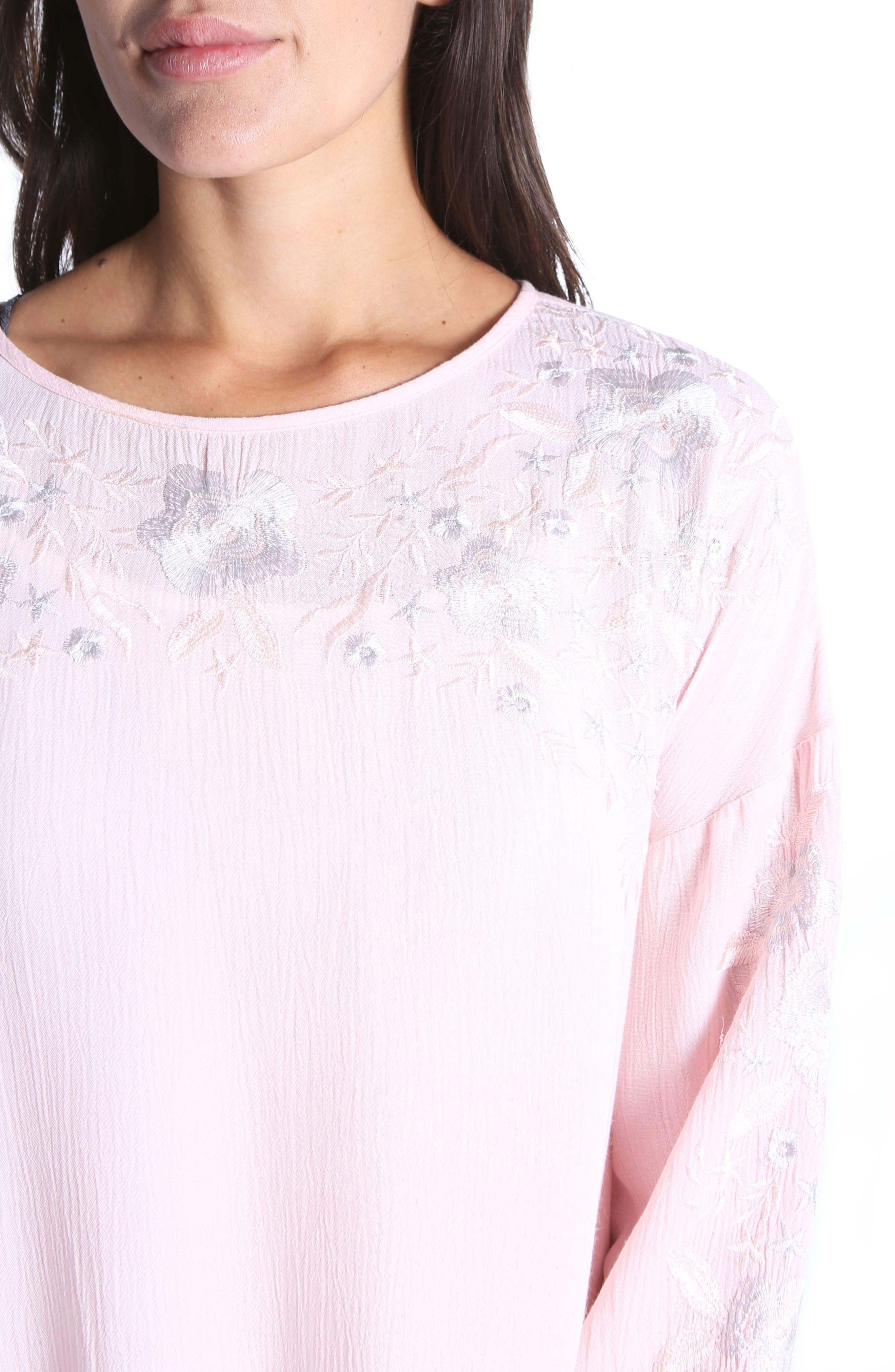 Ailiana Embroidered Blouse,                             Alternate thumbnail 4, color,                             Pink Bloom