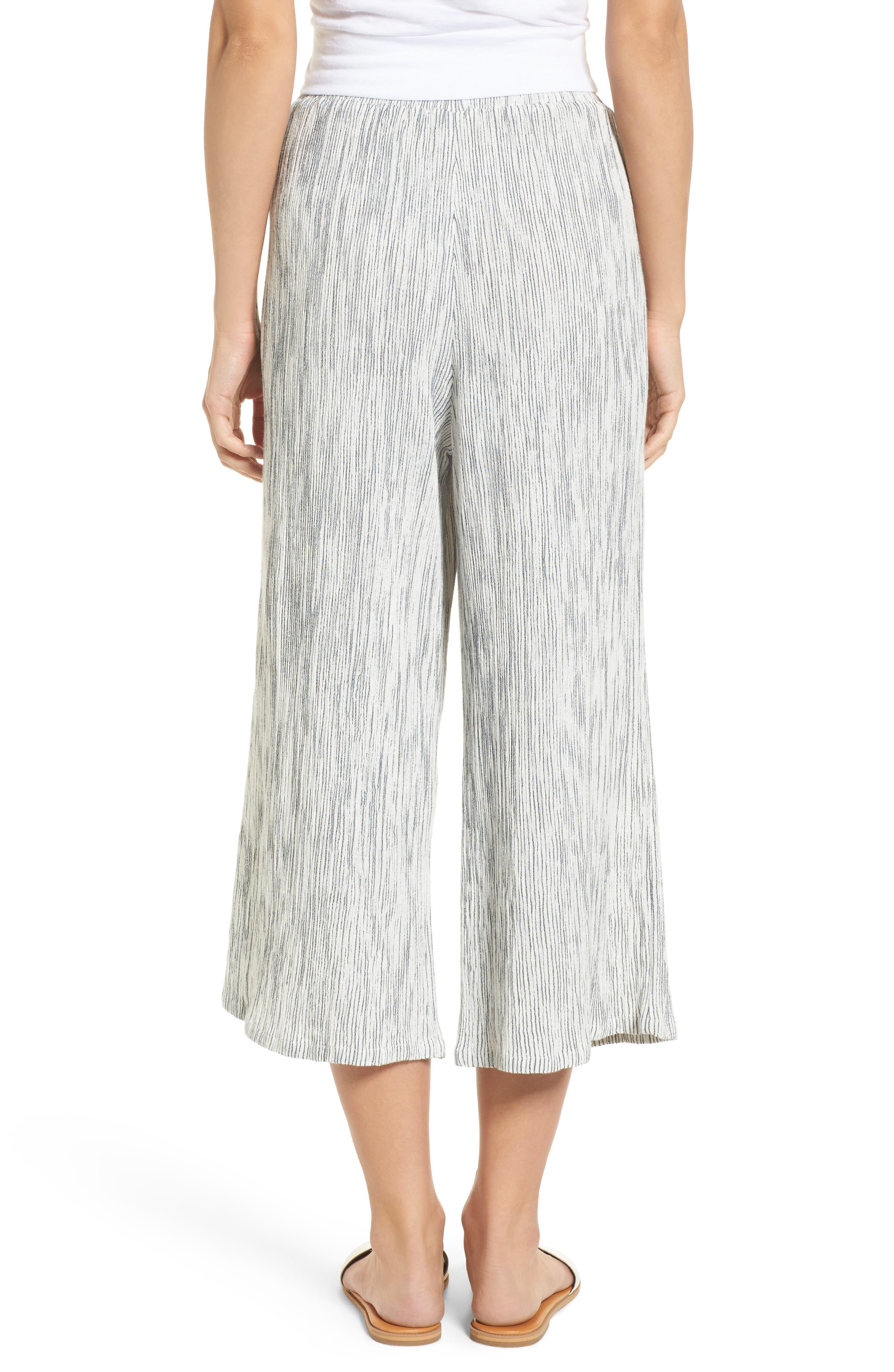 Crinkled Wide Leg Crop Pants,                             Alternate thumbnail 2, color,                             Ivory Angel Stripe