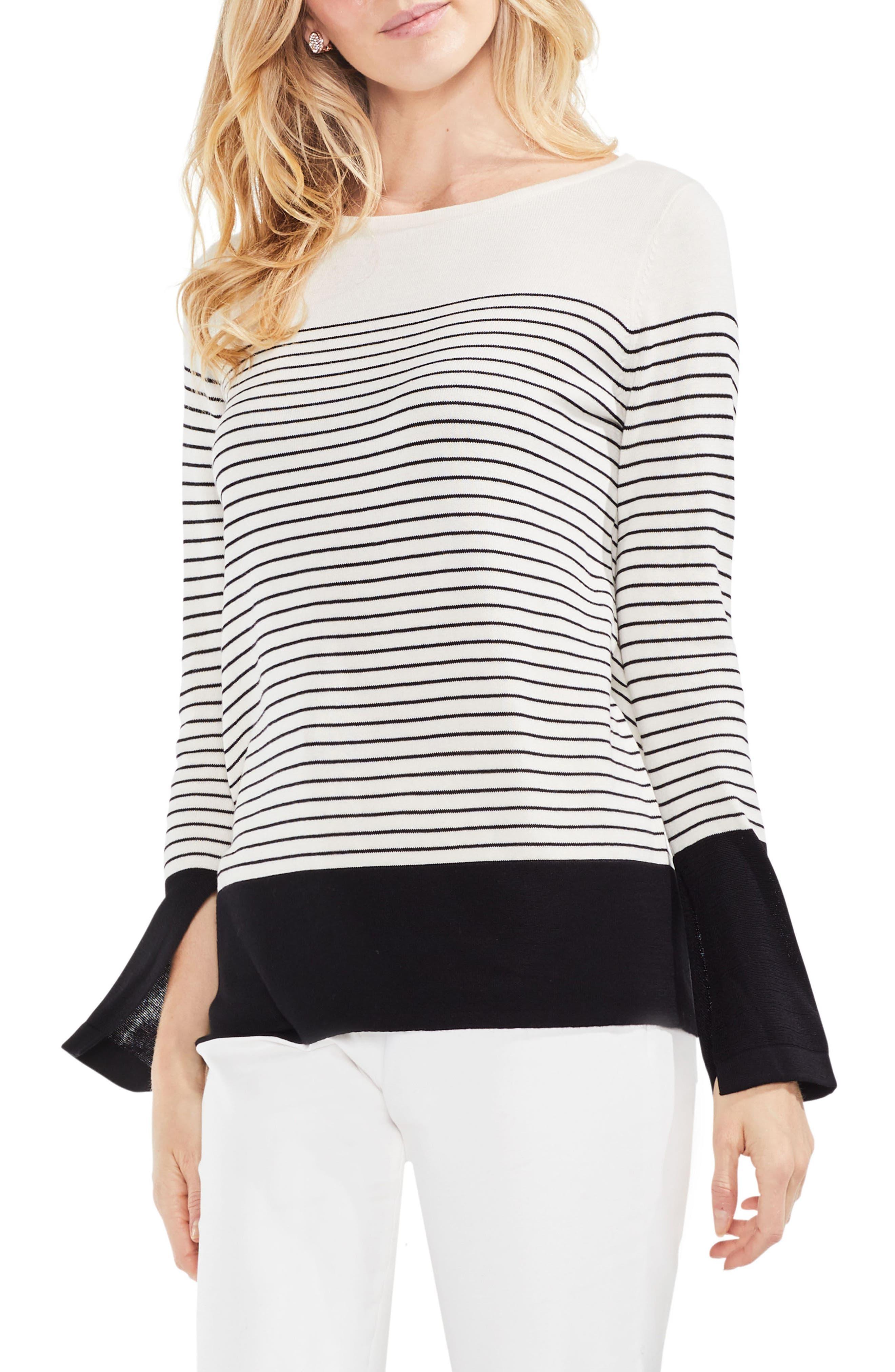 Colorblock Stripe Sweater,                         Main,                         color, Antique White