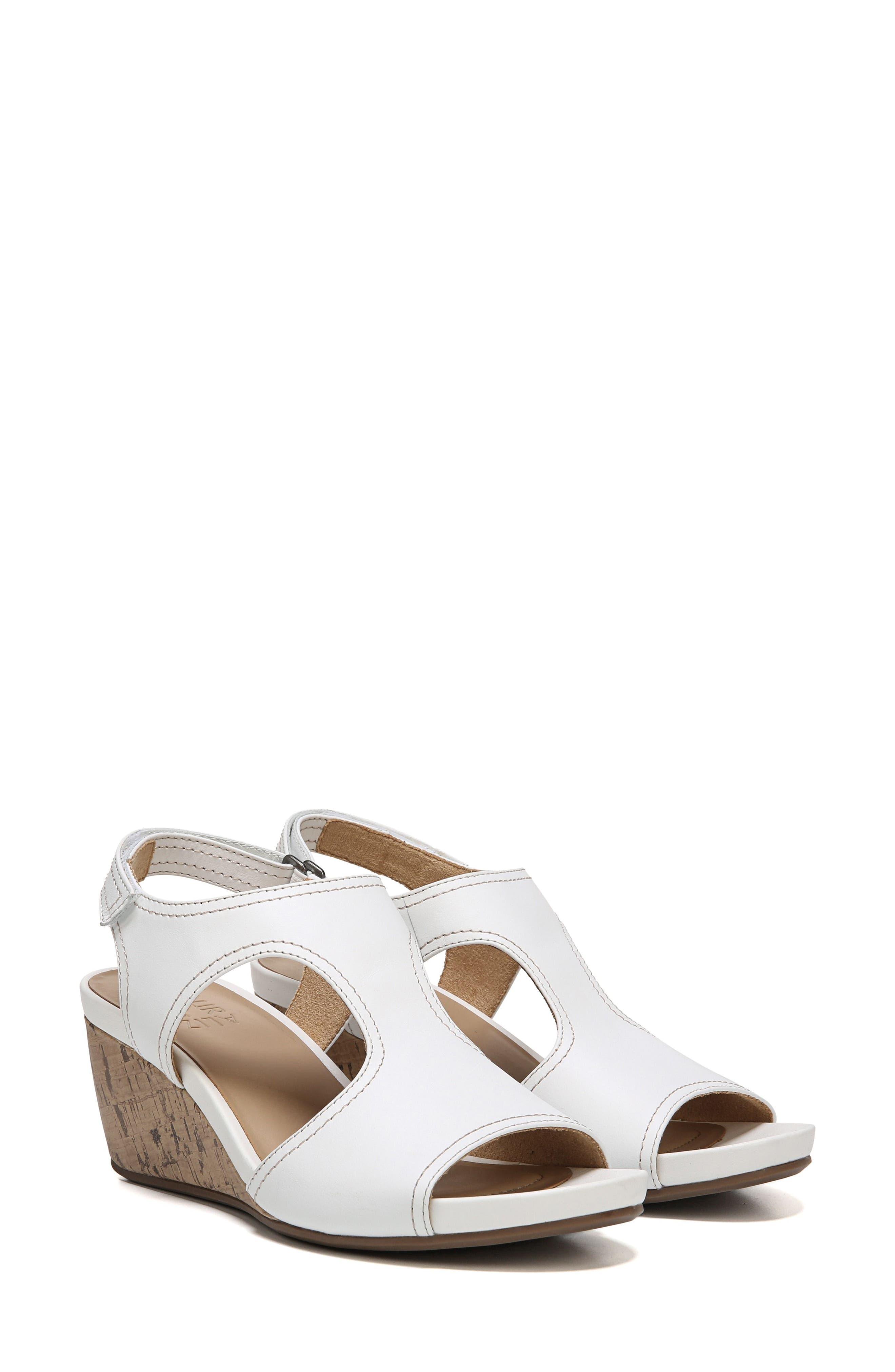 Cinda Wedge Sandal,                             Alternate thumbnail 7, color,                             White Leather