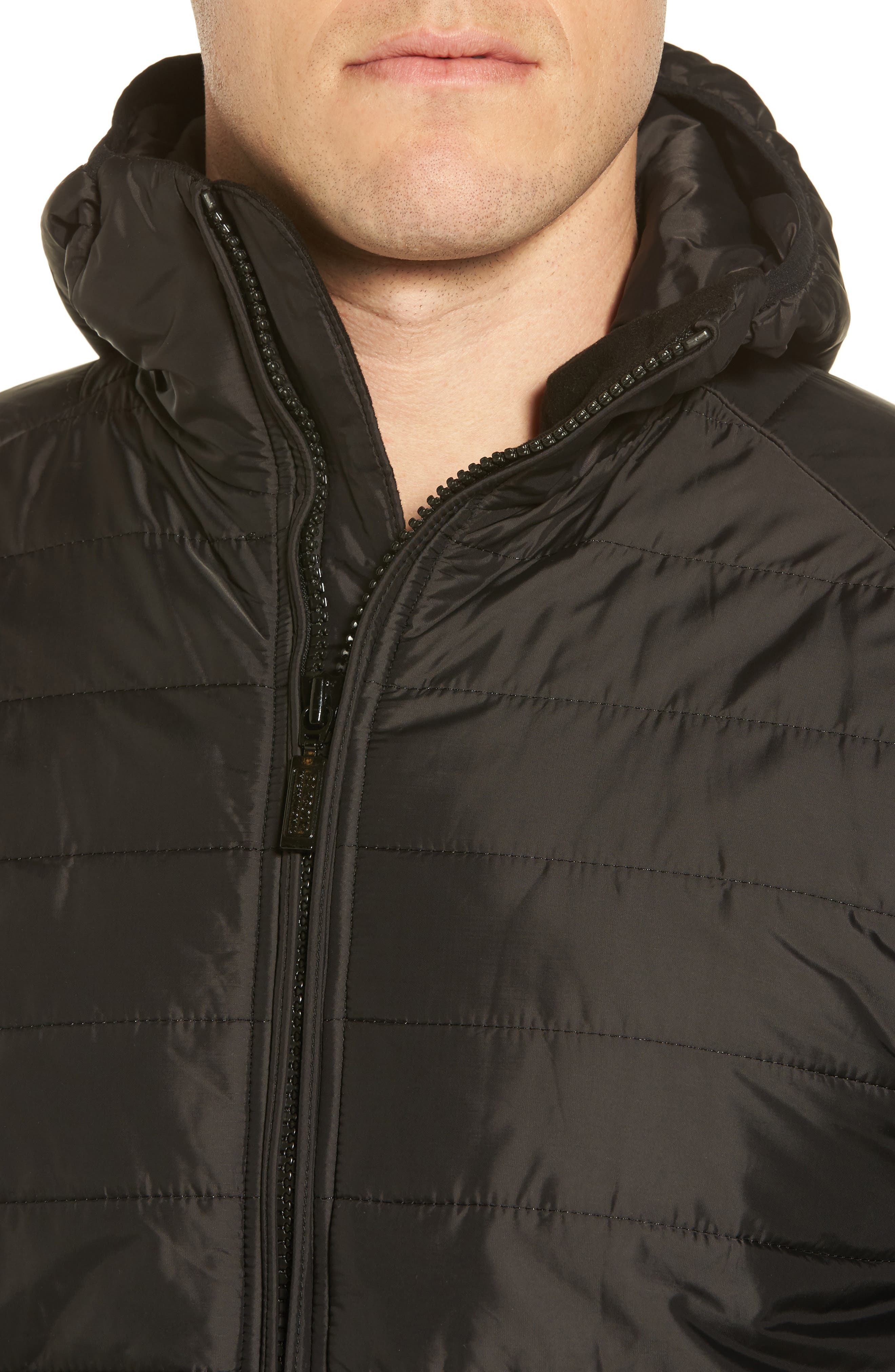International Level Slim Fit Quilted Hooded Jacket,                             Alternate thumbnail 4, color,                             Black