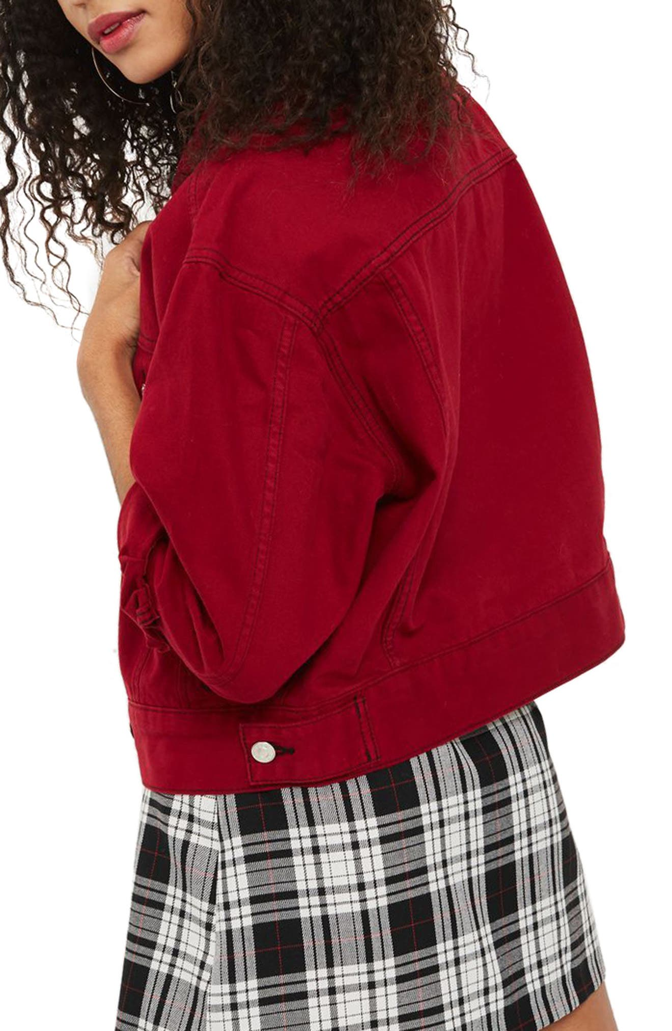 Boxy Denim Jacket,                             Alternate thumbnail 4, color,                             Red