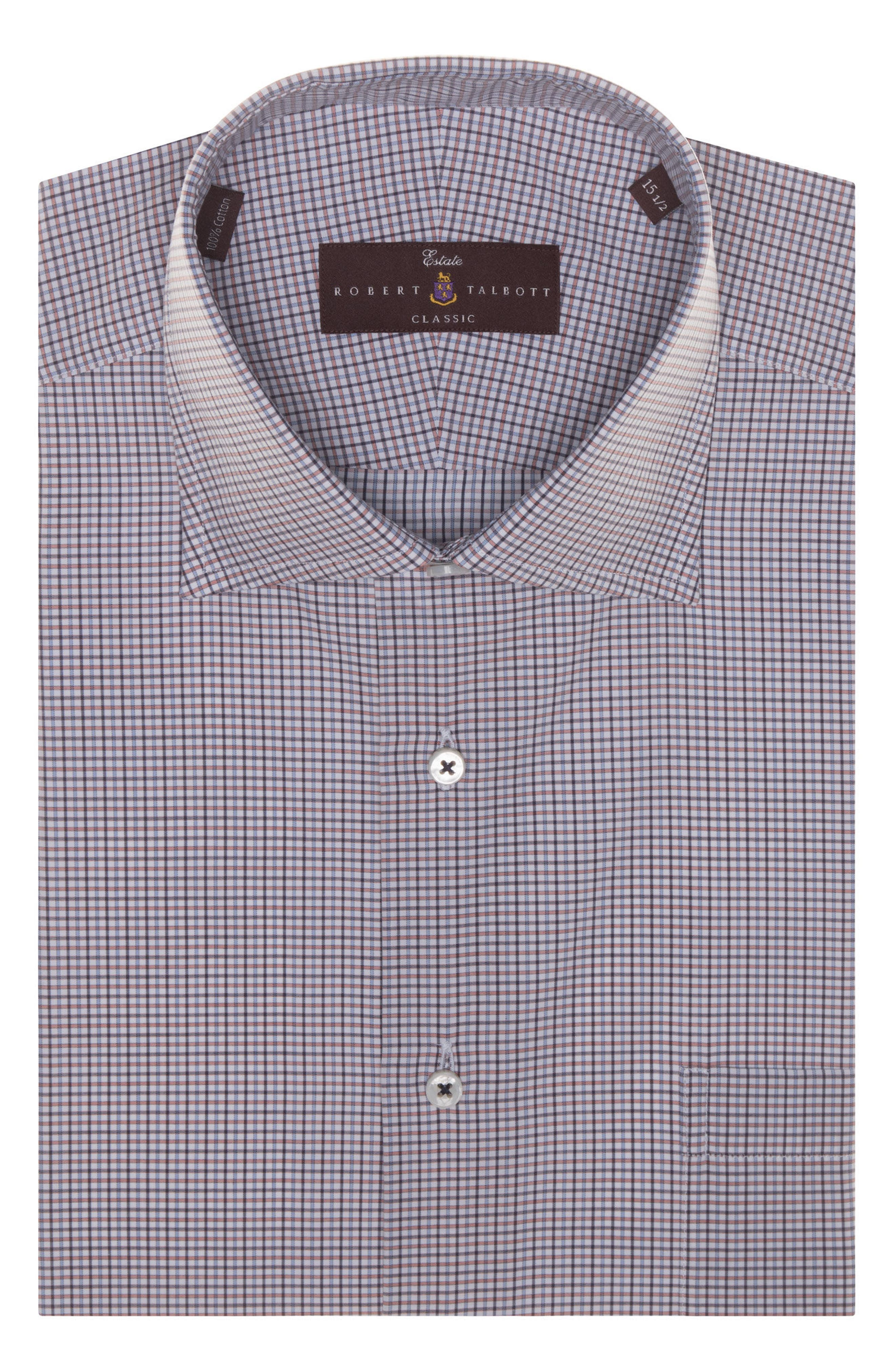 Tailored Fit Check Dress Shirt,                         Main,                         color, Zinnia