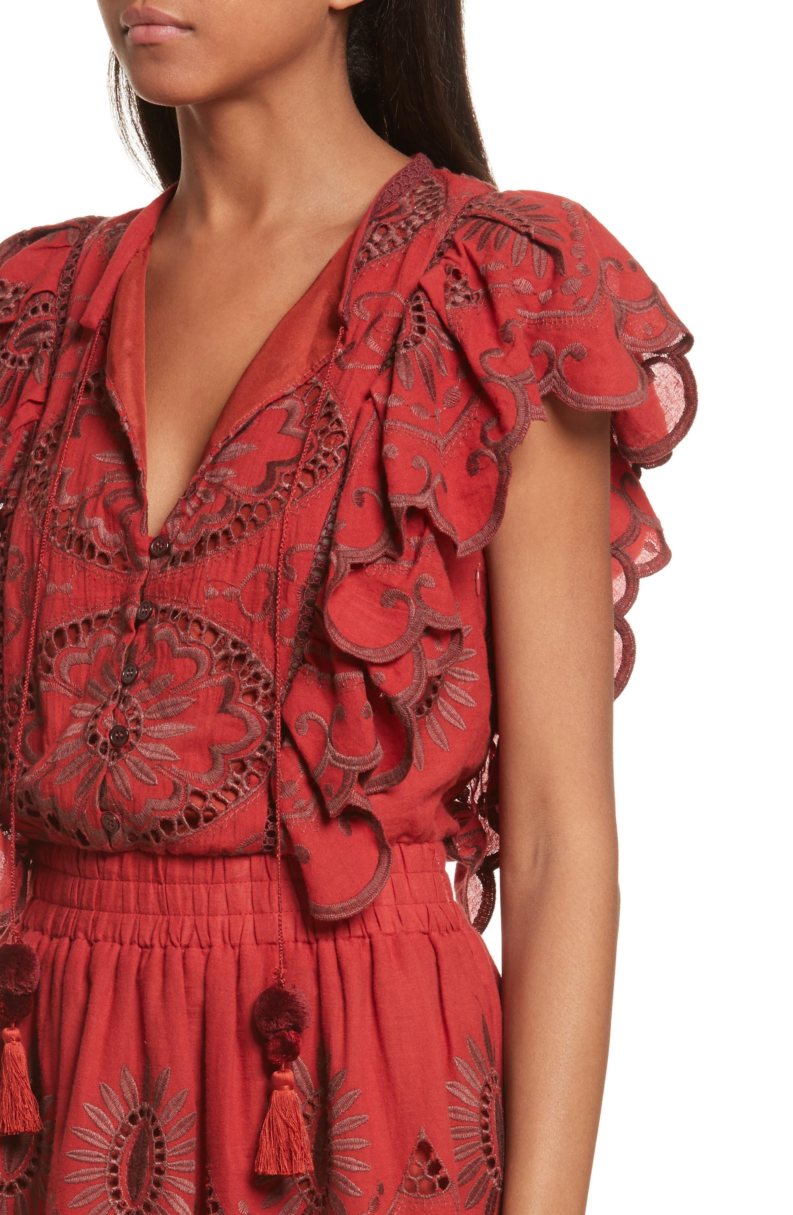 Ruffle Cotton Eyelet Dress,                             Alternate thumbnail 4, color,                             Brick/ Dark Brick