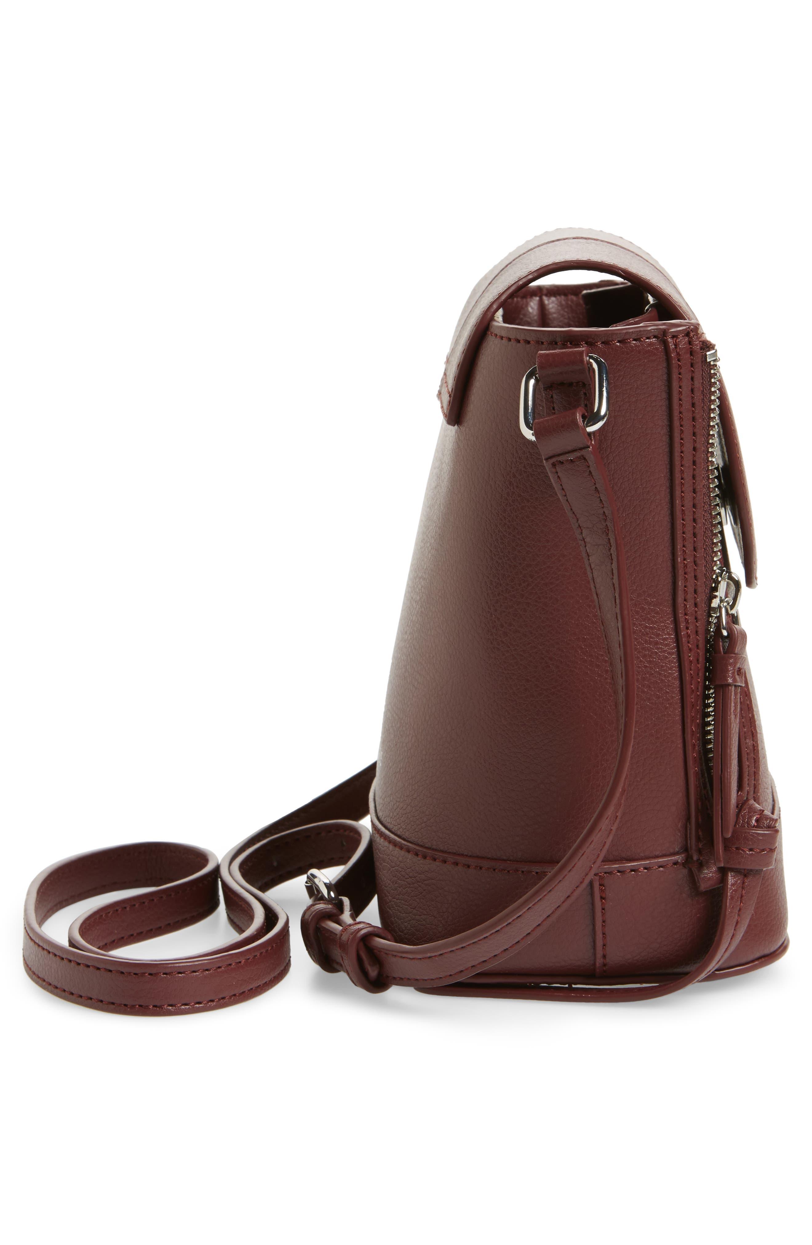 Beckett Leather Crossbody Bag,                             Alternate thumbnail 5, color,                             Wine