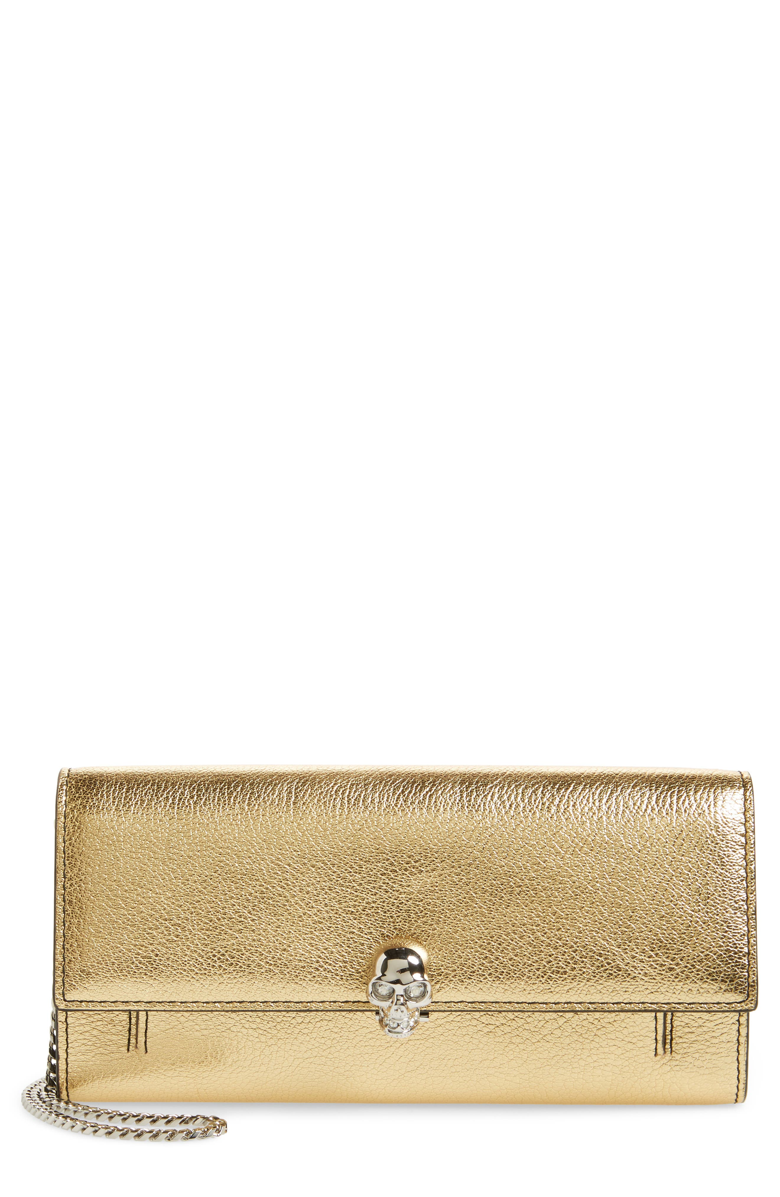 Metallic Leather Wallet on a Chain,                         Main,                         color, Sahara Gold