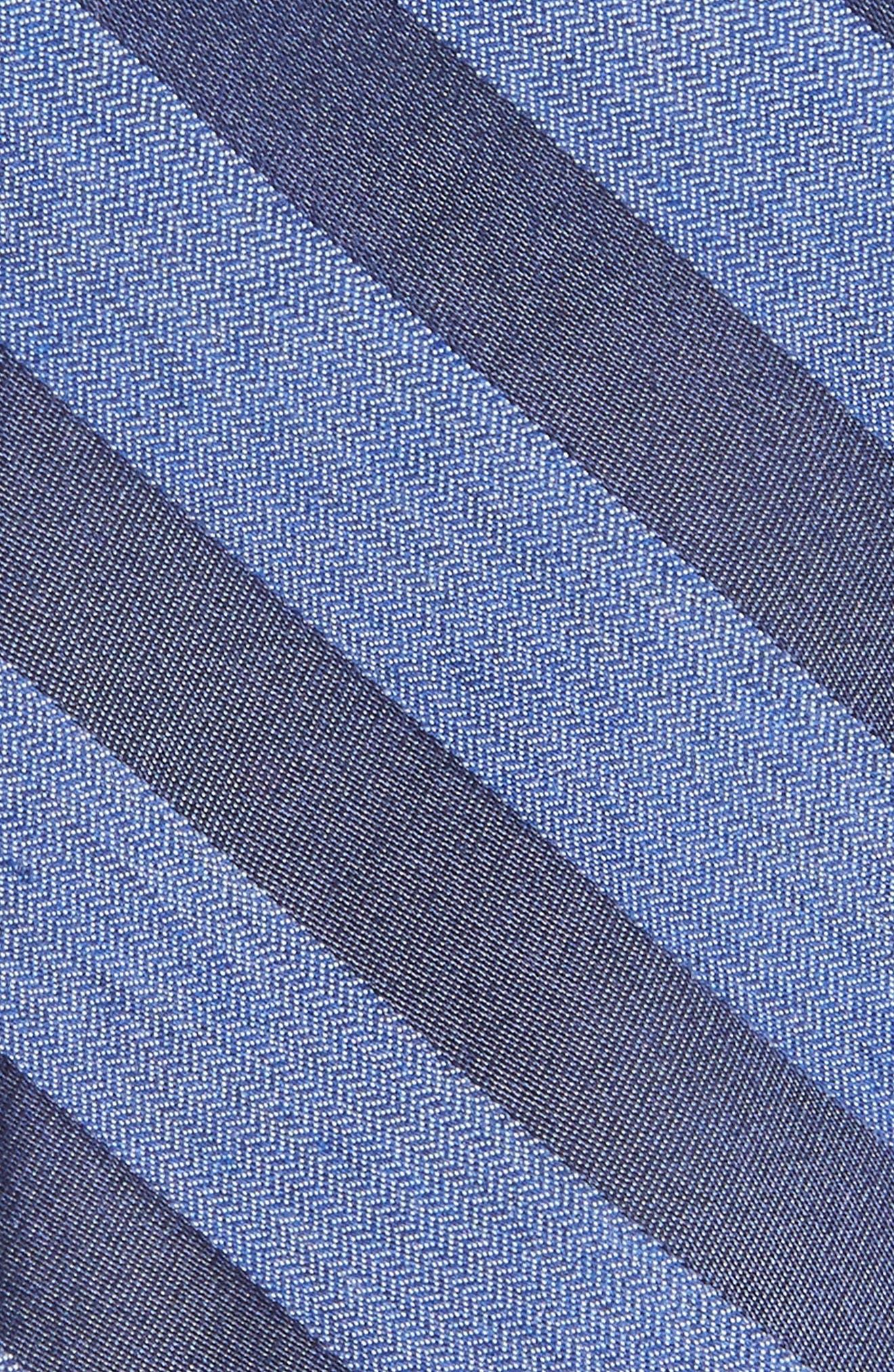 Bar Stripe Silk Blend Skinny Tie,                             Alternate thumbnail 2, color,                             Navy