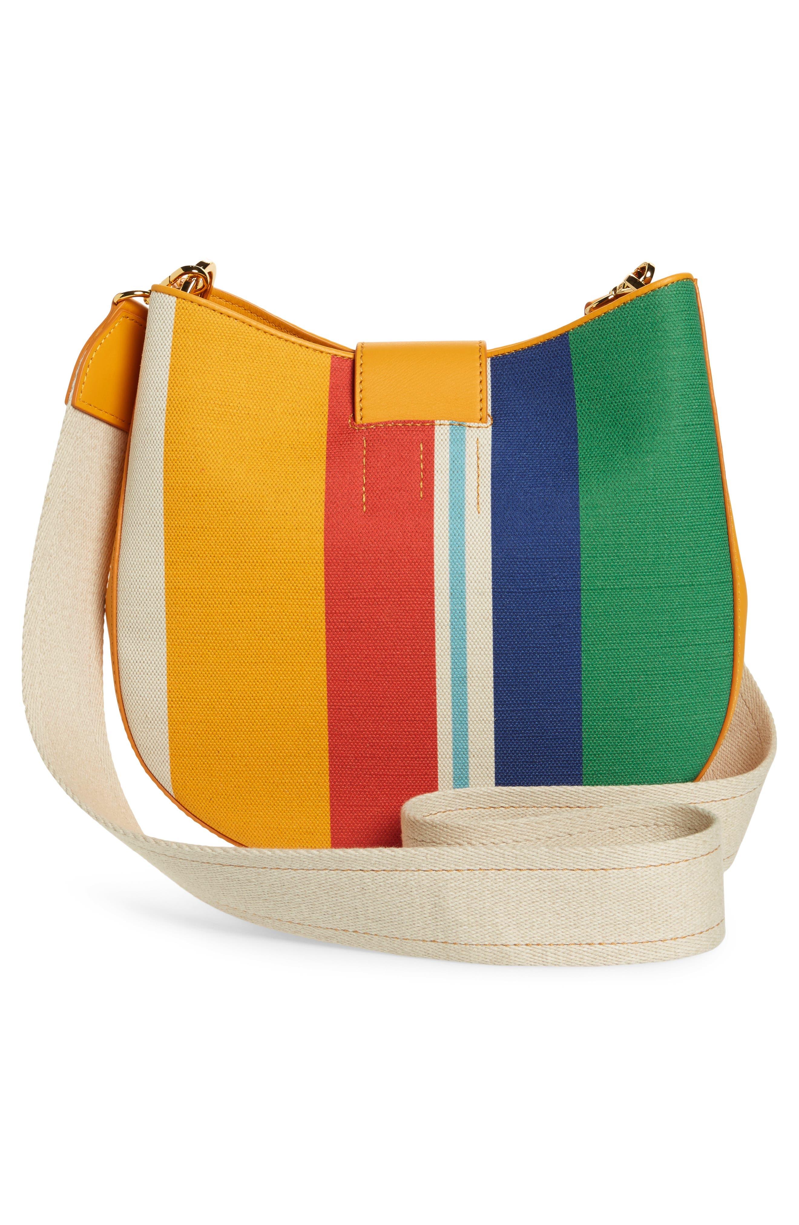 Medium Patricia Canvas Hobo Bag,                             Alternate thumbnail 3, color,                             Rainbow Yellow