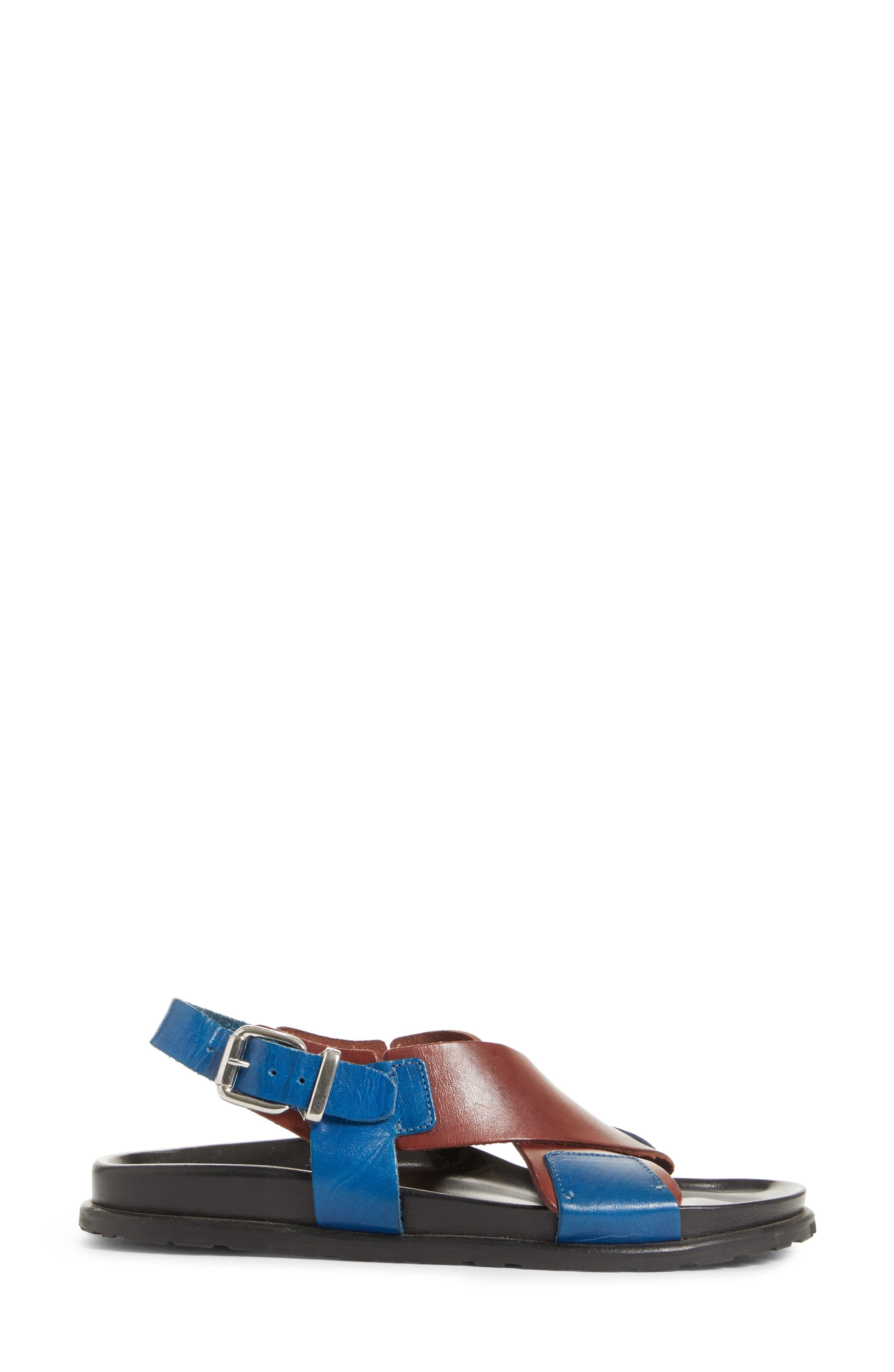 Bicolor Strappy Sandal,                             Alternate thumbnail 3, color,                             5Marsala/Denim