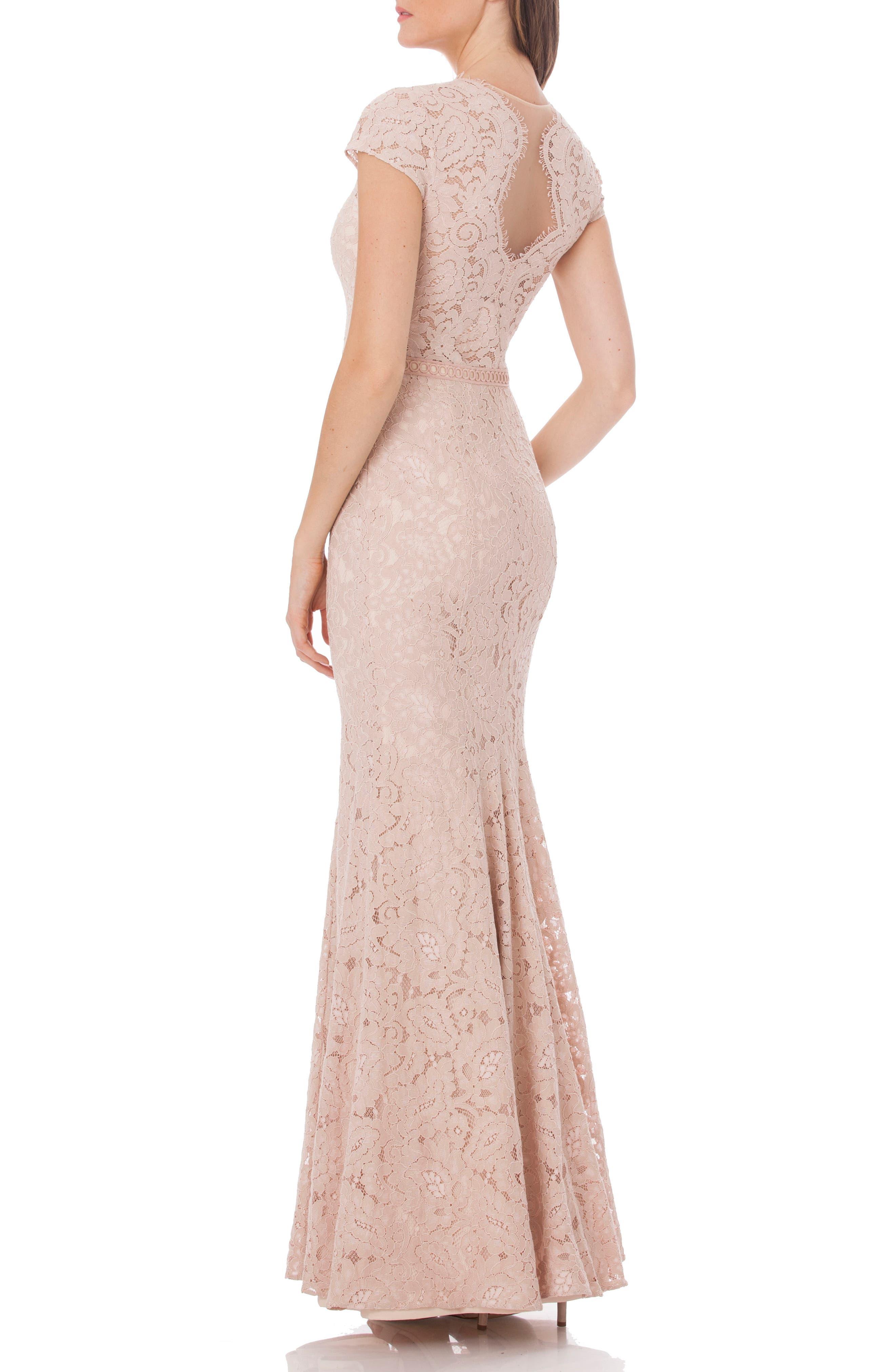 Lace Mermaid Gown,                             Alternate thumbnail 2, color,                             Blush