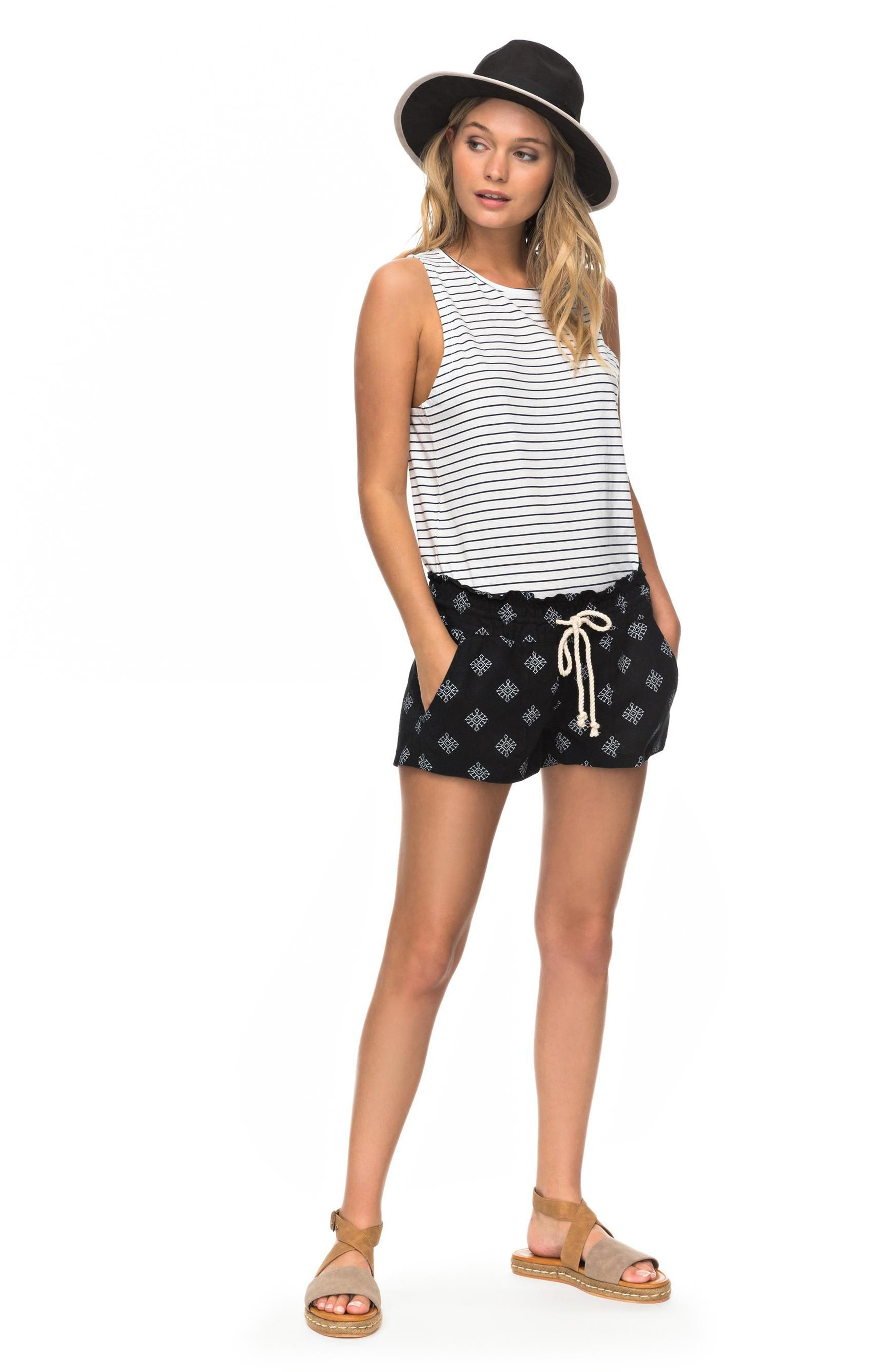 Oceanside Printed Drawstring Shorts,                             Alternate thumbnail 2, color,                             Anthracite Pearly Tiles