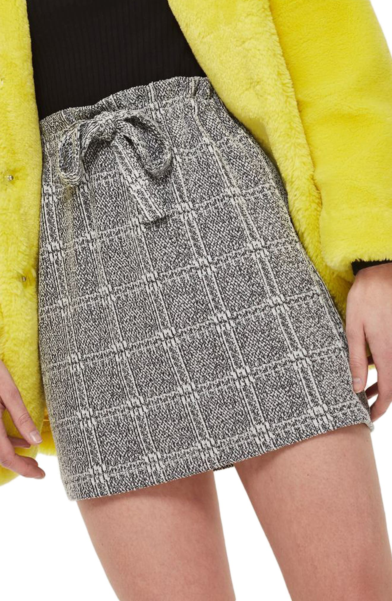 Paperbag Waist Checkered Skirt,                         Main,                         color, Grey Multi