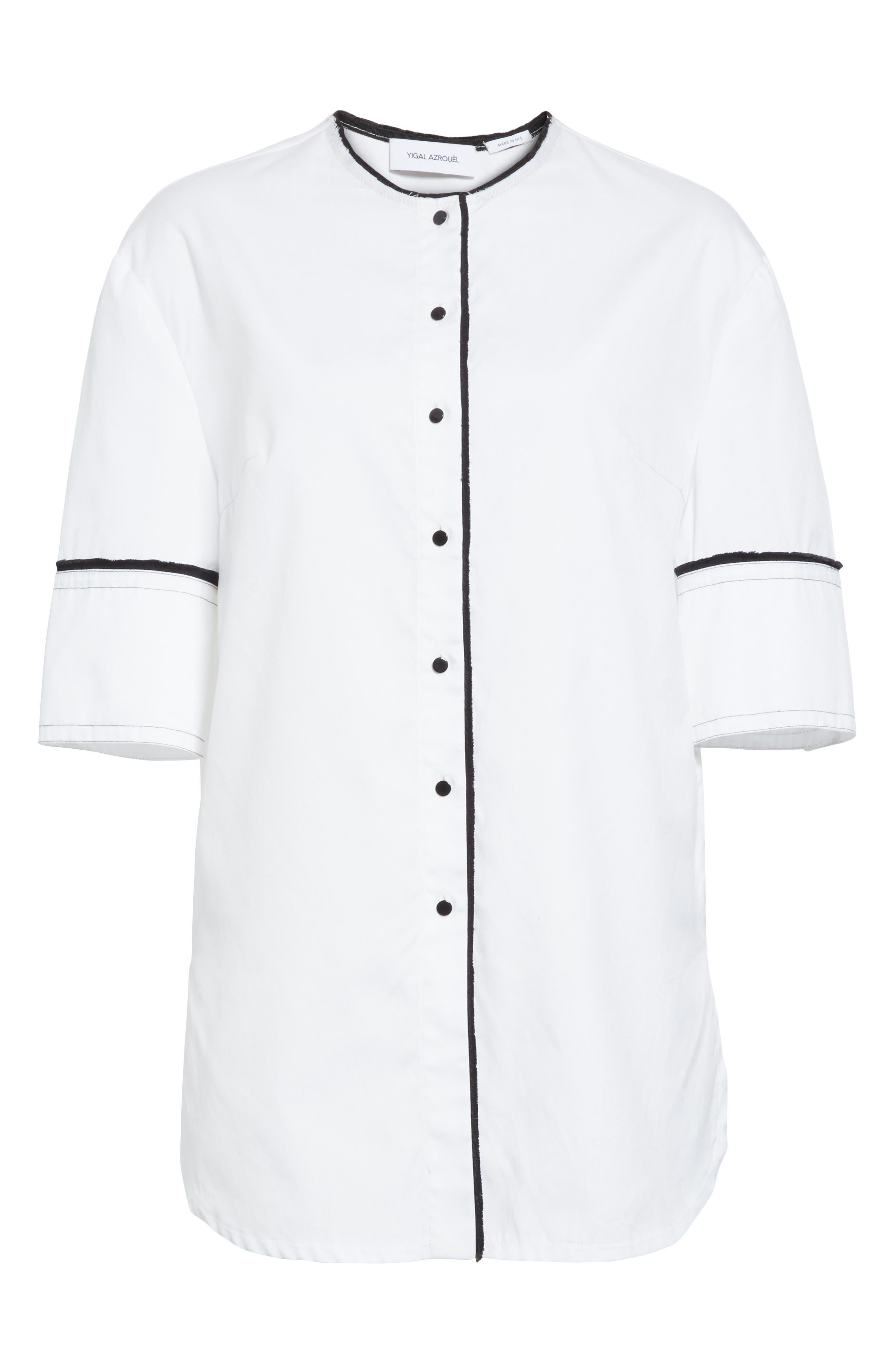 Crop Back Poplin Shirt,                             Alternate thumbnail 7, color,                             White