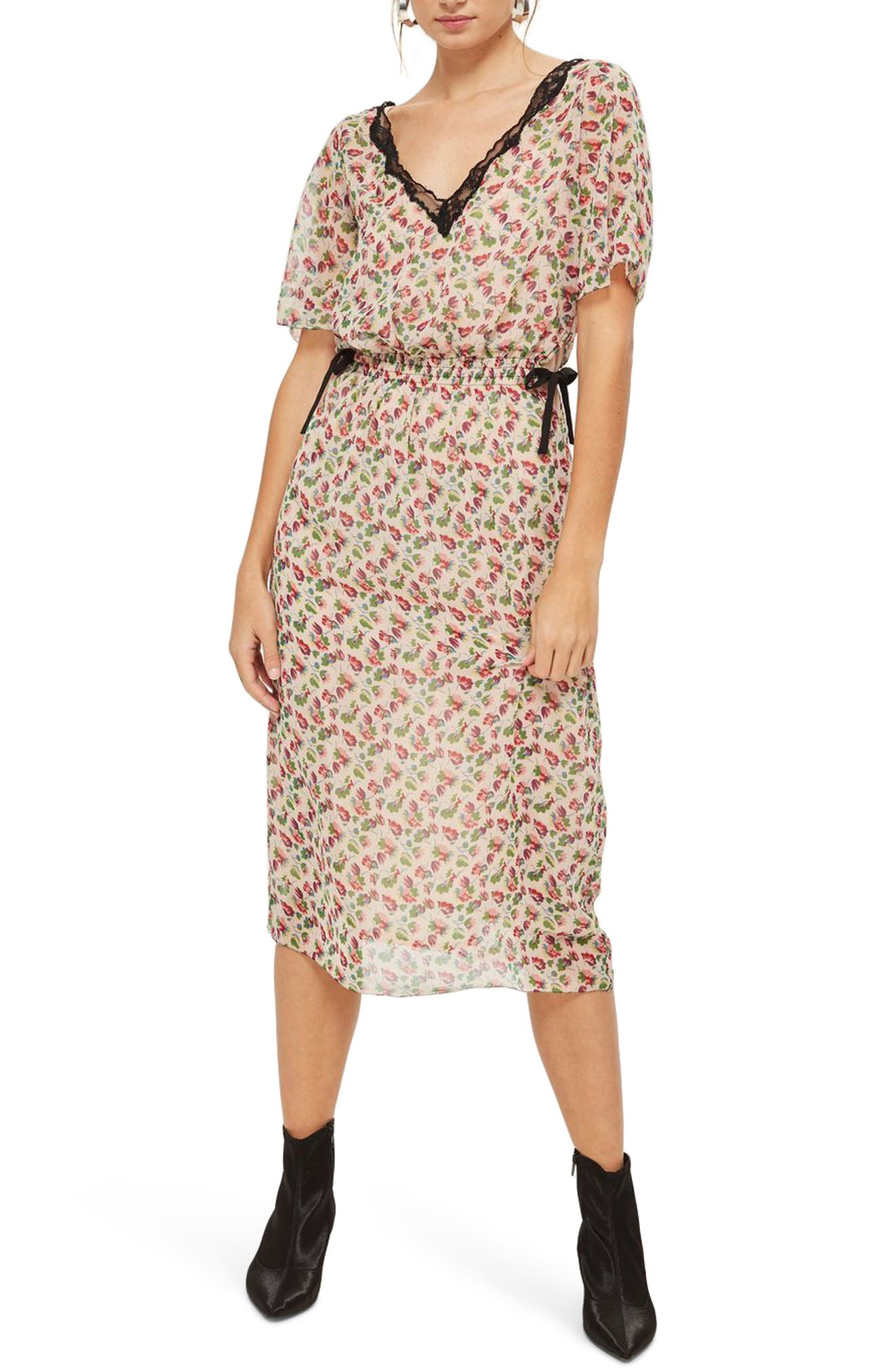 Ditsy Embroidered Lace Midi Dress,                         Main,                         color, Nude Multi