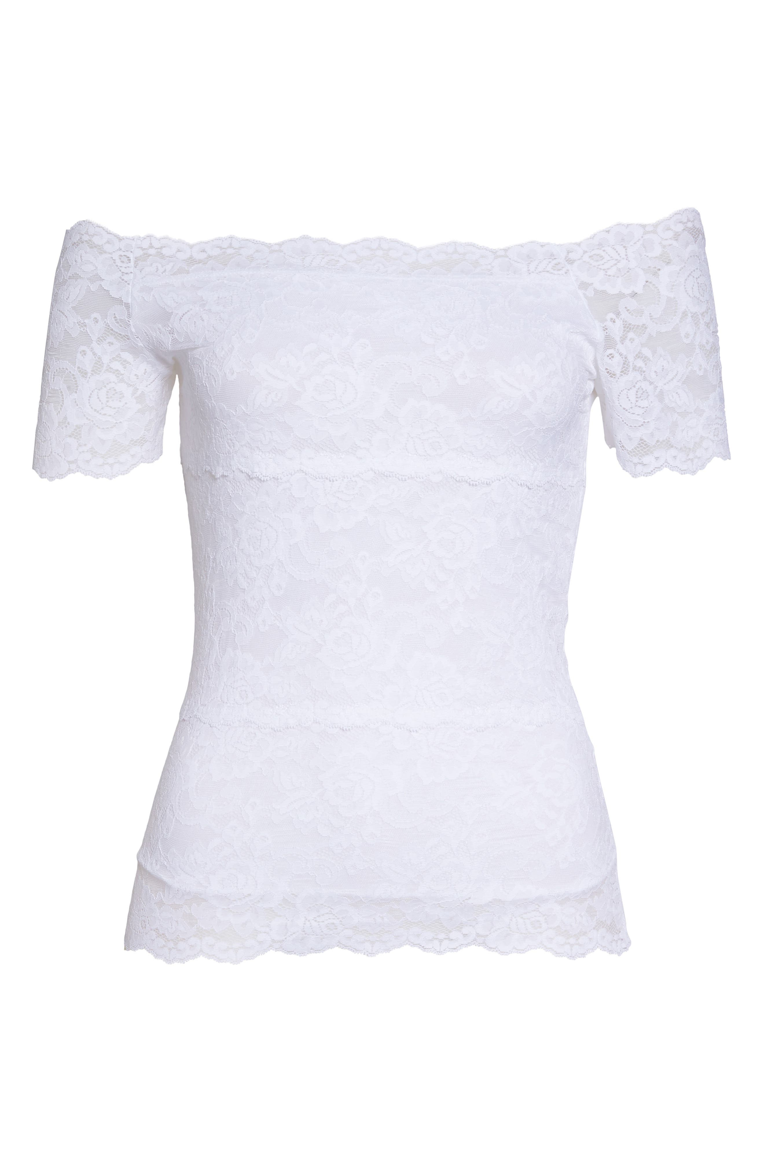 Evelyn Off the Shoulder Lace Top,                             Alternate thumbnail 4, color,                             White