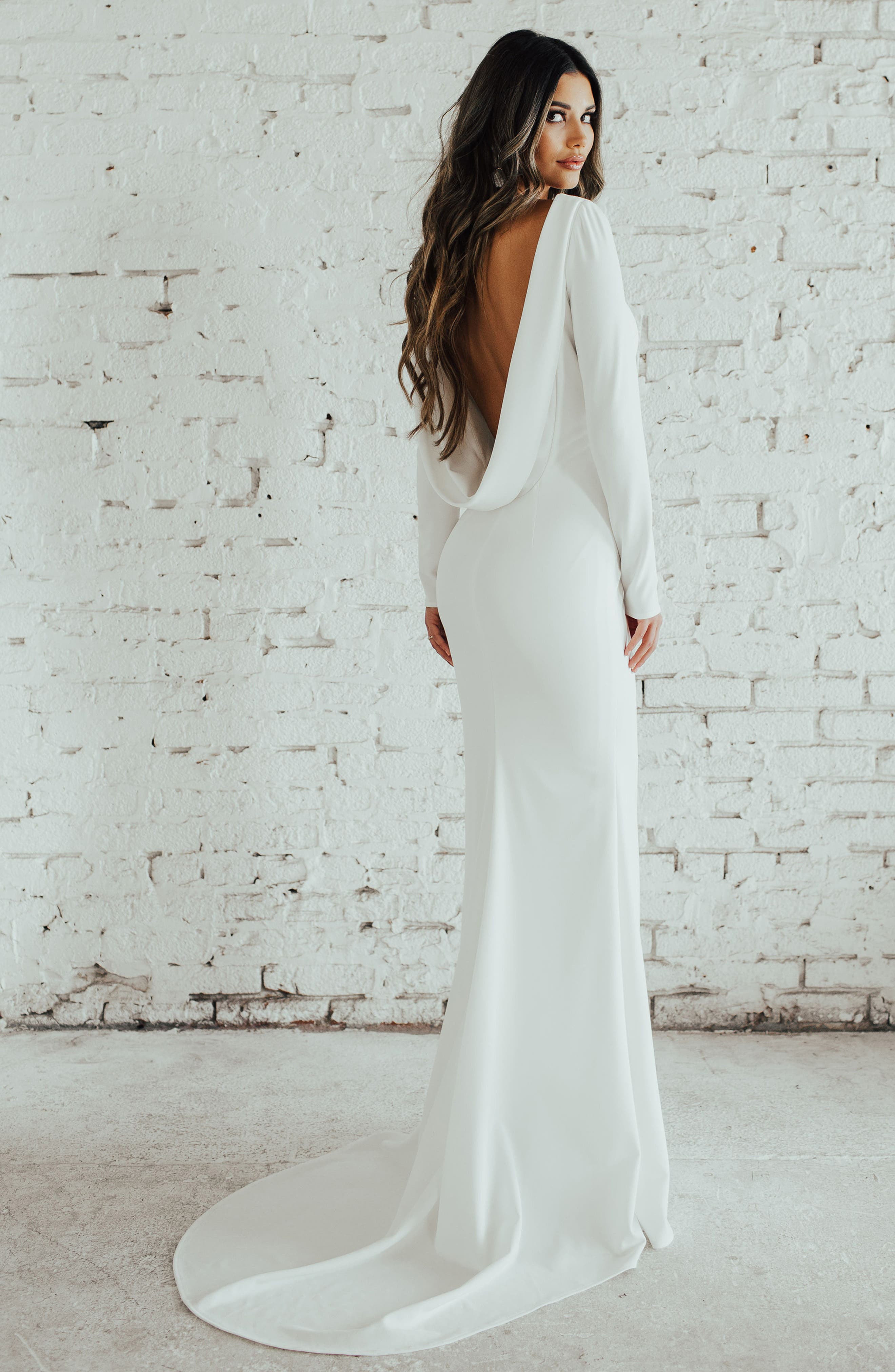 Cowl Back Crepe Gown,                             Main thumbnail 1, color,                             Ivory