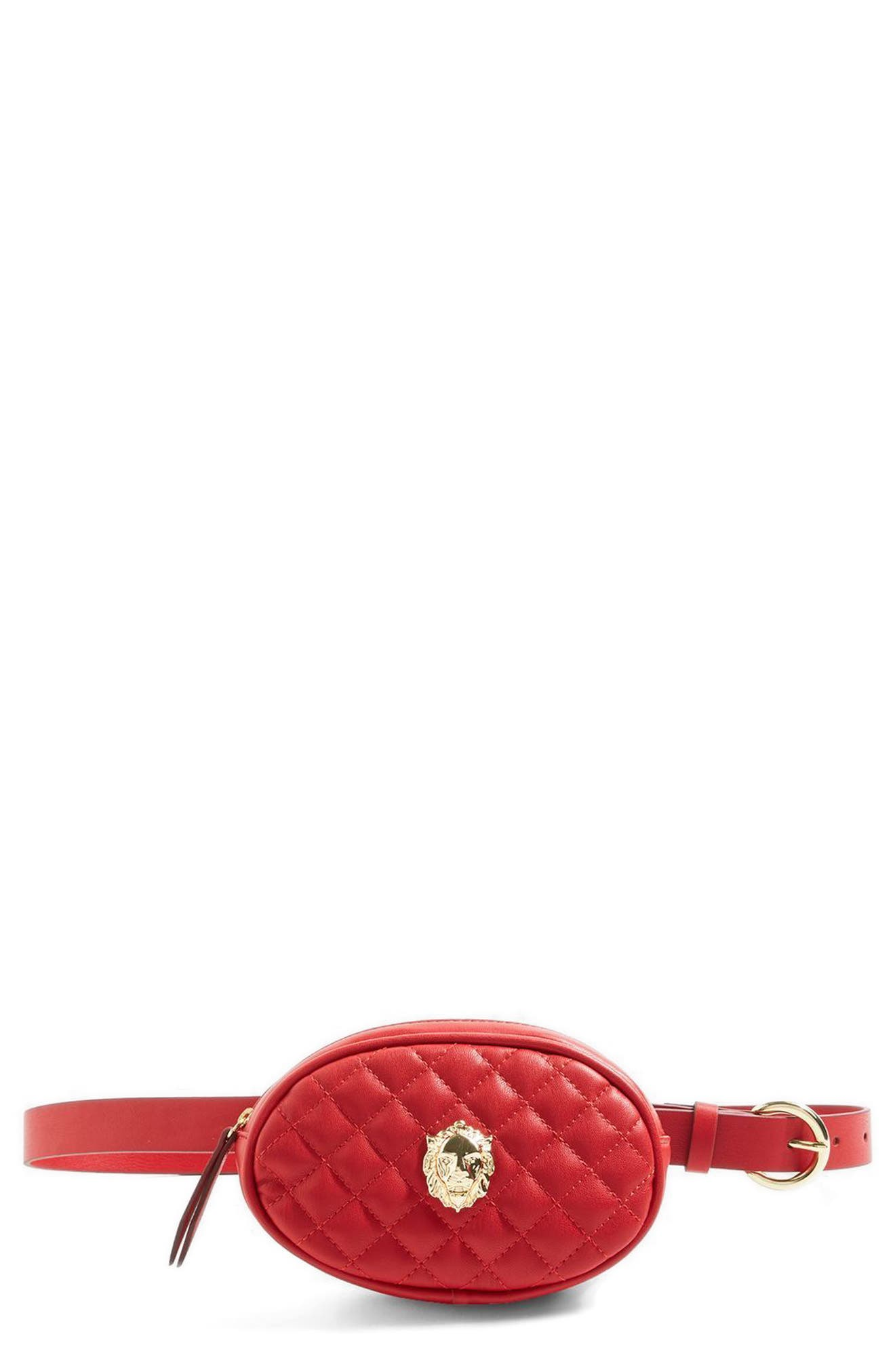 Quilted Faux Leather Belt Bag,                             Alternate thumbnail 2, color,                             Red