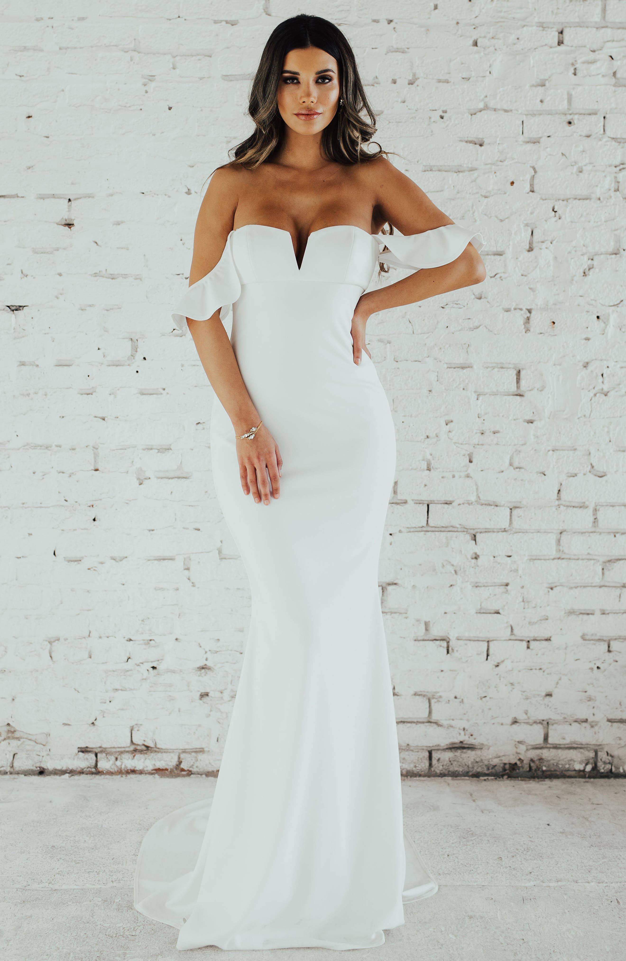 Ruffled Off the Shoulder Crepe Mermaid Gown,                             Alternate thumbnail 5, color,                             Ivory