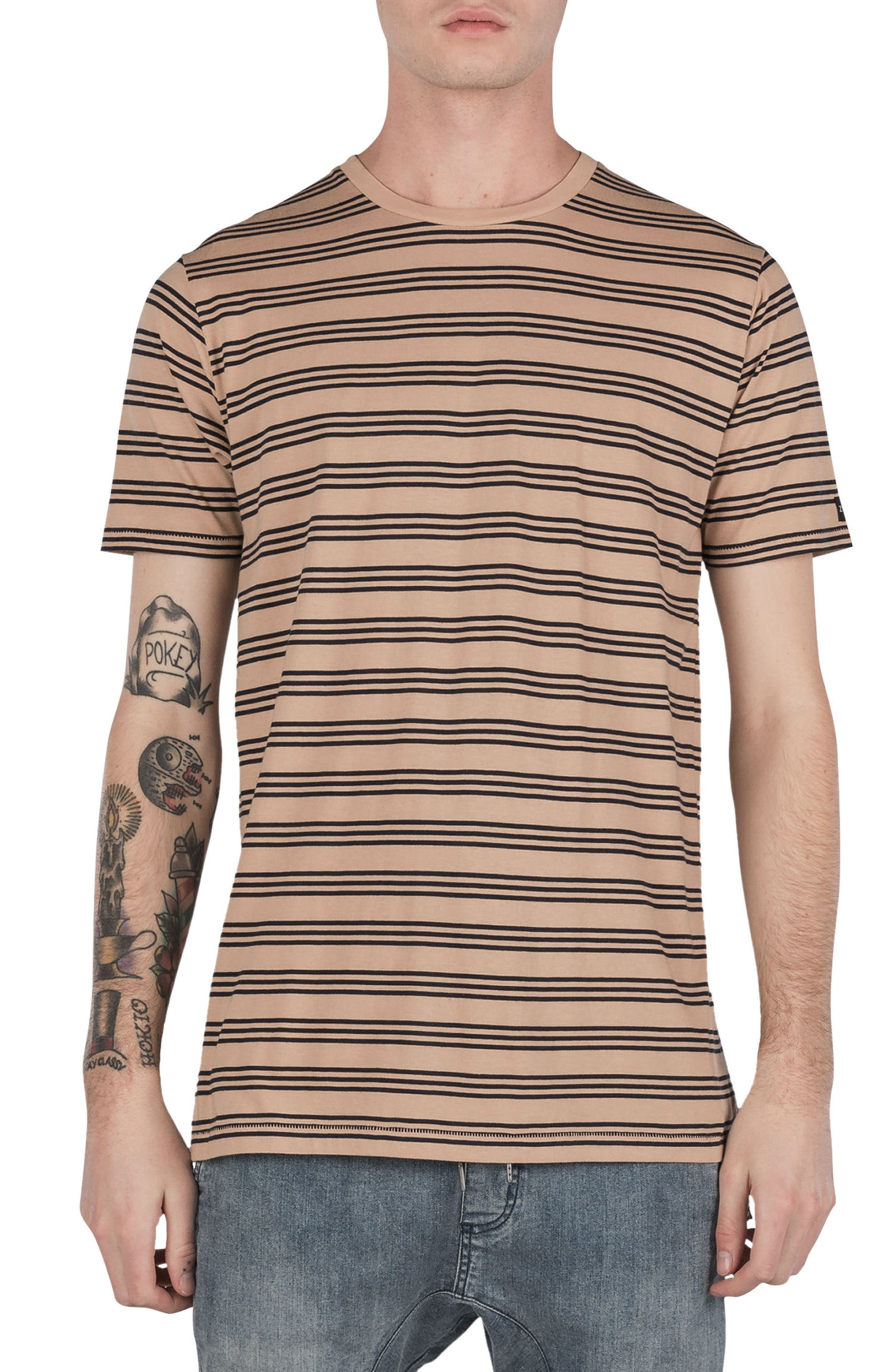 Flintlock Stripe T-Shirt,                         Main,                         color, Wheat/ Navy
