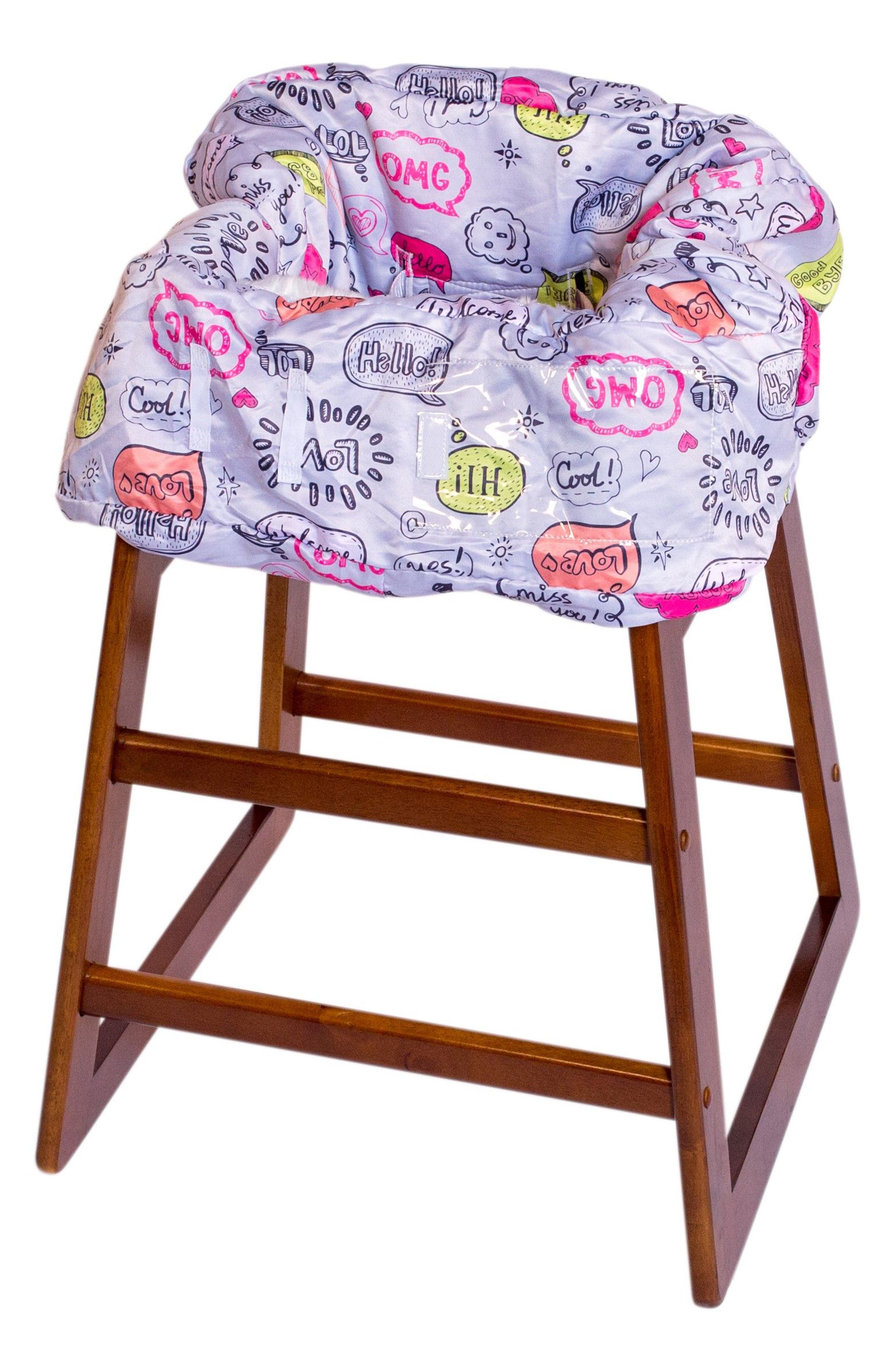 Highchair/Shopping Cart Cover,                             Alternate thumbnail 2, color,                             Grey Text Bubble